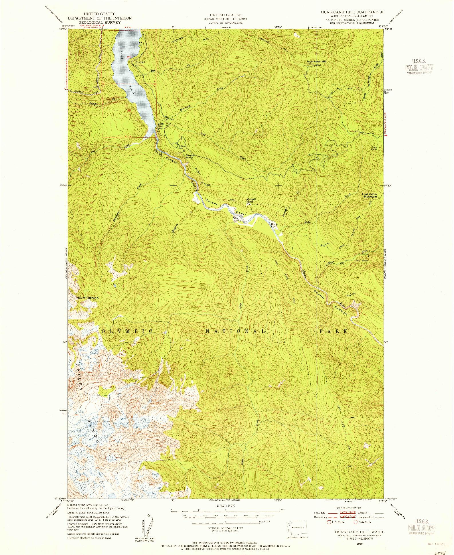 USGS 1:24000-SCALE QUADRANGLE FOR HURRICANE HILL, WA 1950