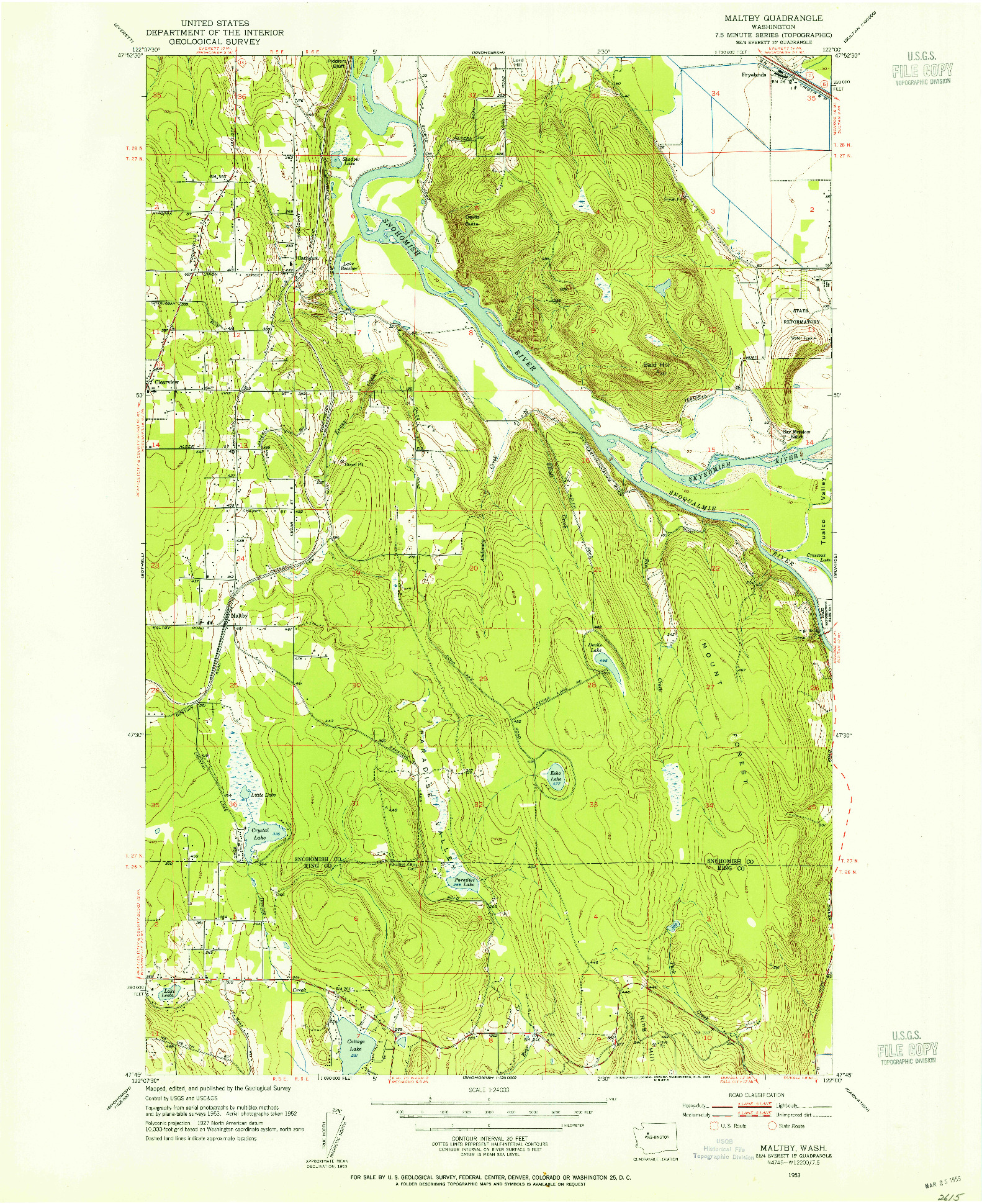 USGS 1:24000-SCALE QUADRANGLE FOR MALTBY, WA 1953