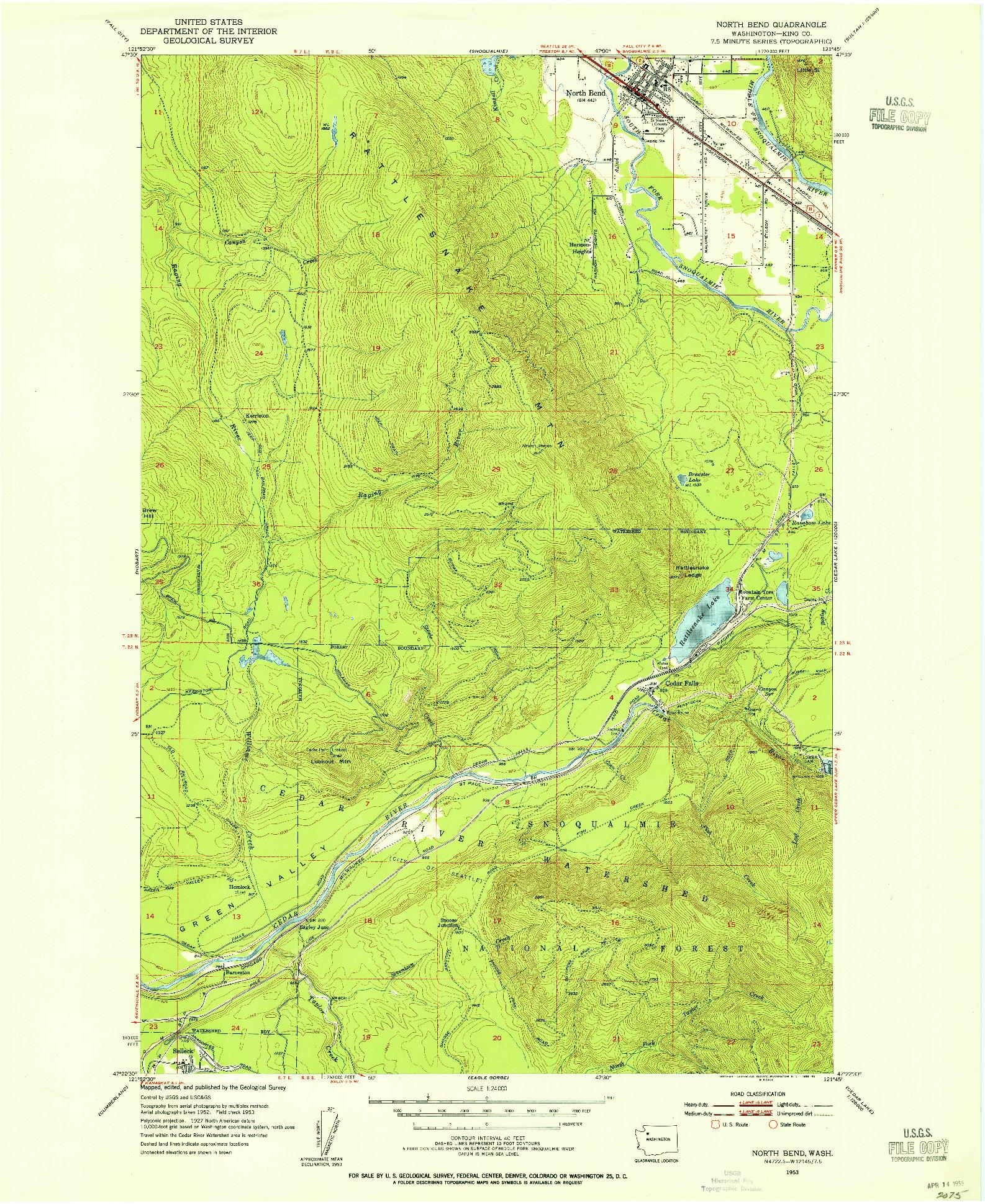 USGS 1:24000-SCALE QUADRANGLE FOR NORTH BEND, WA 1953