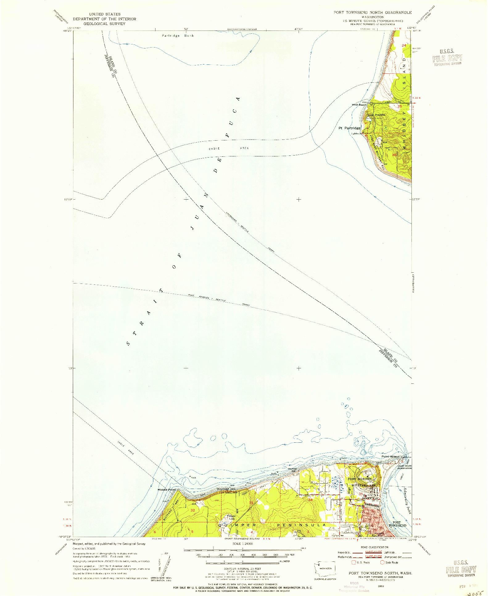 USGS 1:24000-SCALE QUADRANGLE FOR PORT TOWNSEND NORTH, WA 1953