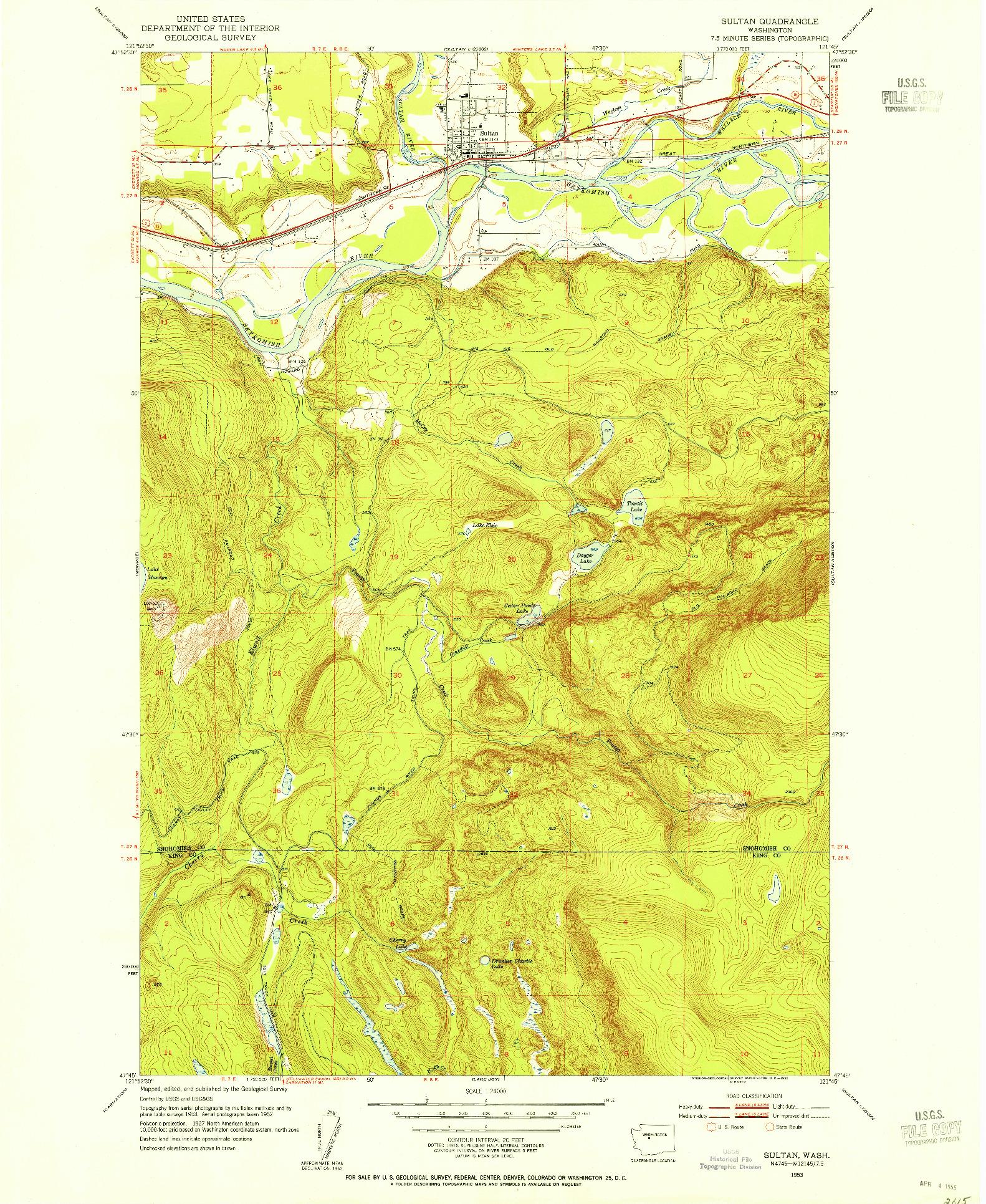 USGS 1:24000-SCALE QUADRANGLE FOR SULTAN, WA 1953