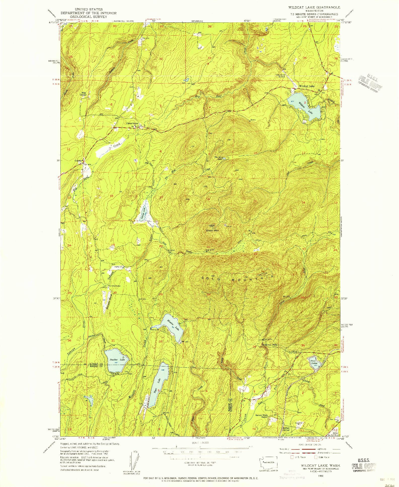 USGS 1:24000-SCALE QUADRANGLE FOR WILDCAT LAKE, WA 1953