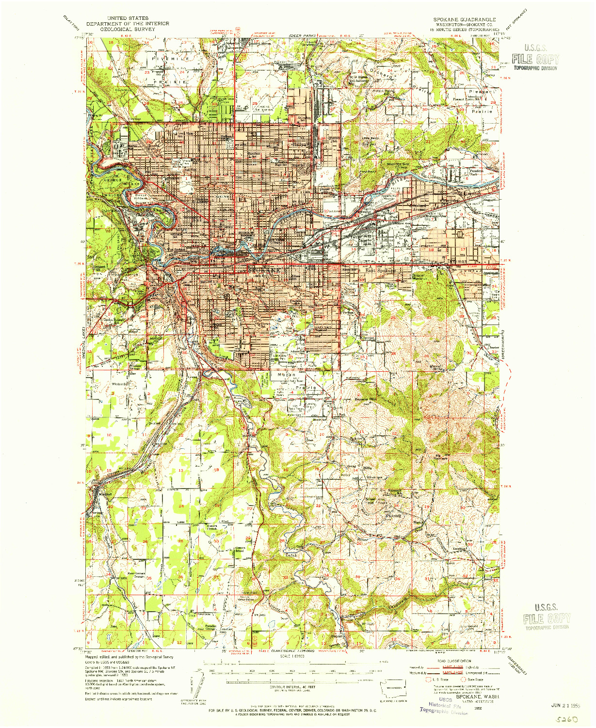USGS 1:62500-SCALE QUADRANGLE FOR SPOKANE, WA 1950