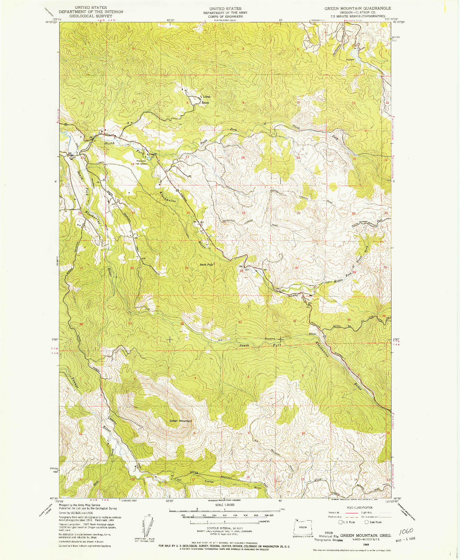 USGS 1:24000-SCALE QUADRANGLE FOR GREEN MOUNTAIN, OR 1949
