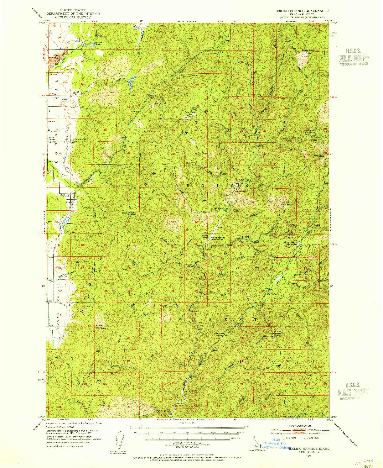 USGS 1:62500-SCALE QUADRANGLE FOR BOILING SPRINGS, ID 1953