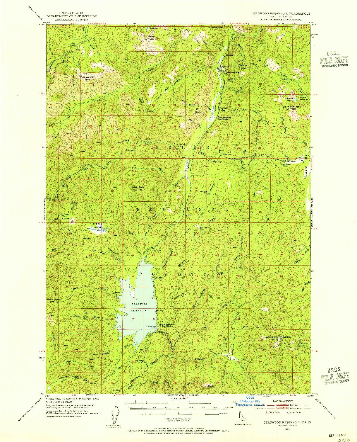 USGS 1:62500-SCALE QUADRANGLE FOR DEADWOOD RESERVOIR, ID 1953