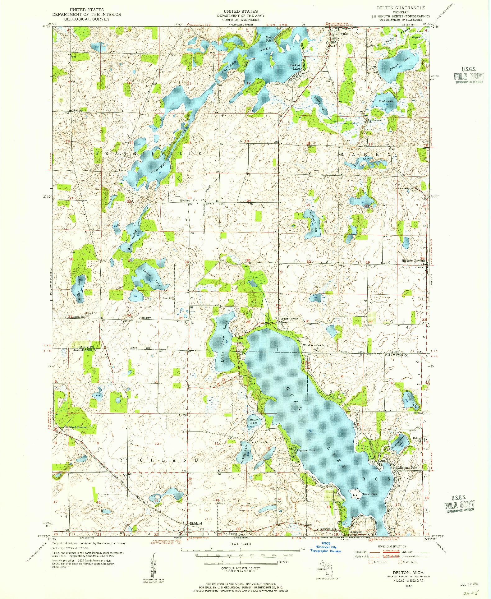 USGS 1:24000-SCALE QUADRANGLE FOR DELTON, MI 1947