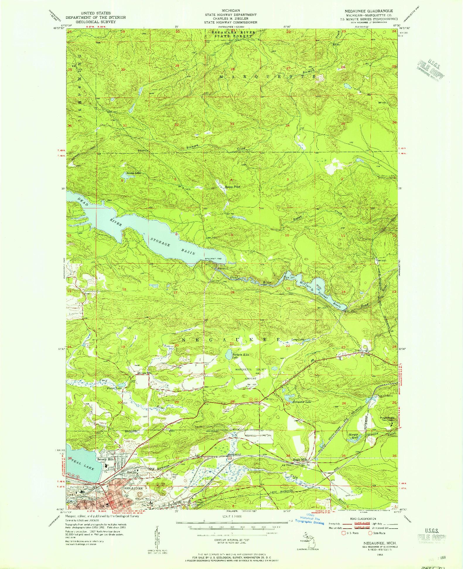 USGS 1:24000-SCALE QUADRANGLE FOR NEGAUNEE, MI 1953