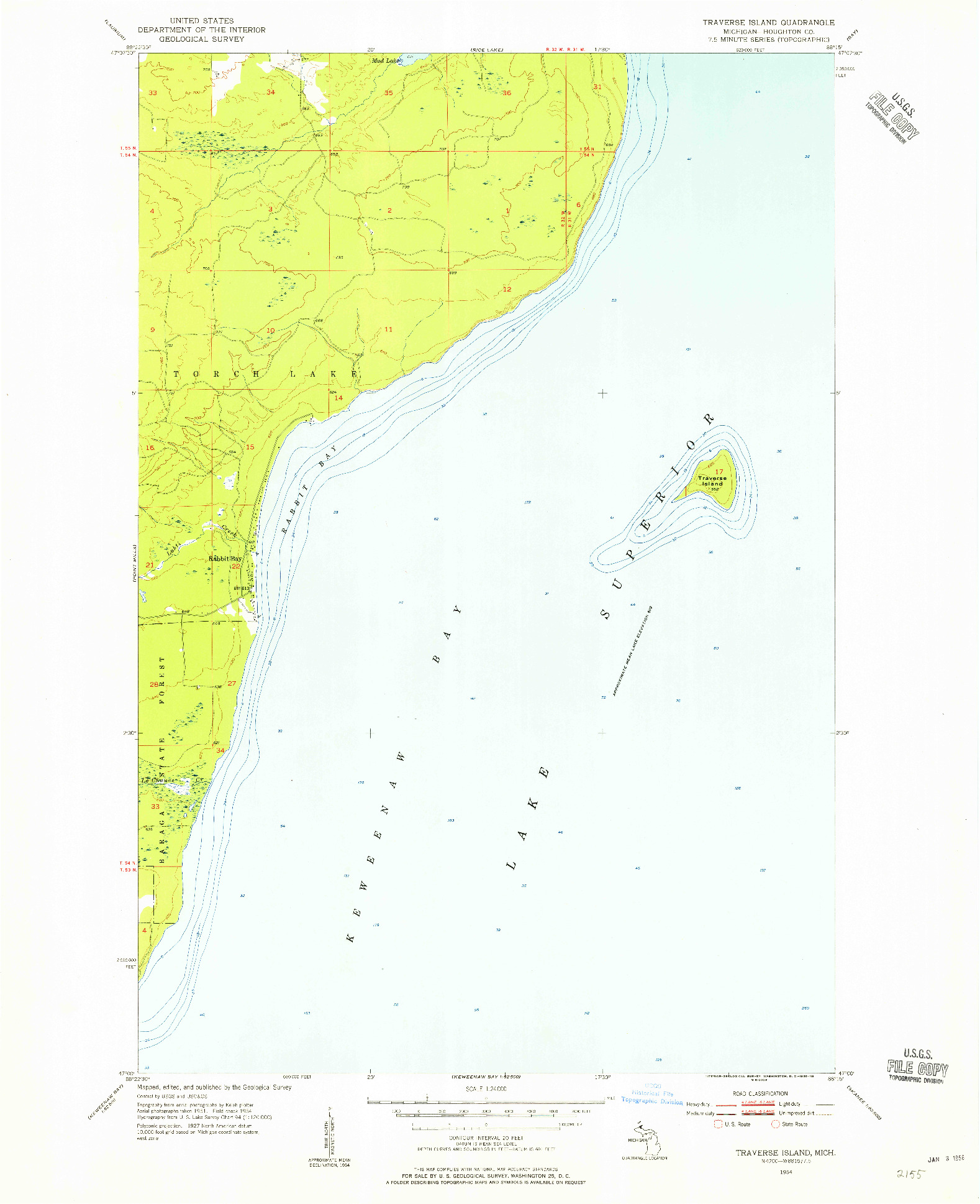 USGS 1:24000-SCALE QUADRANGLE FOR TRAVERSE ISLAND, MI 1954