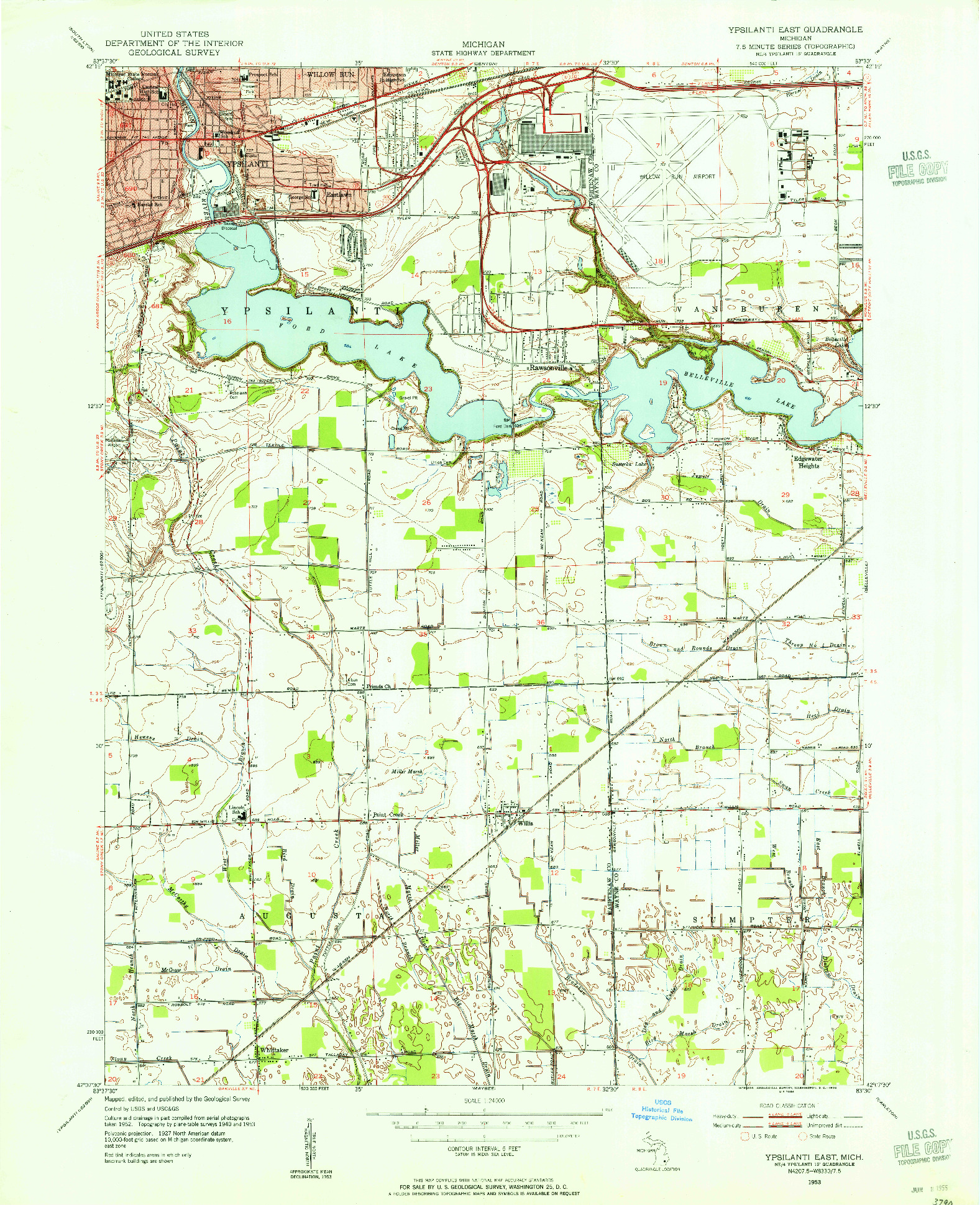 USGS 1:24000-SCALE QUADRANGLE FOR YPSILANTI EAST, MI 1953