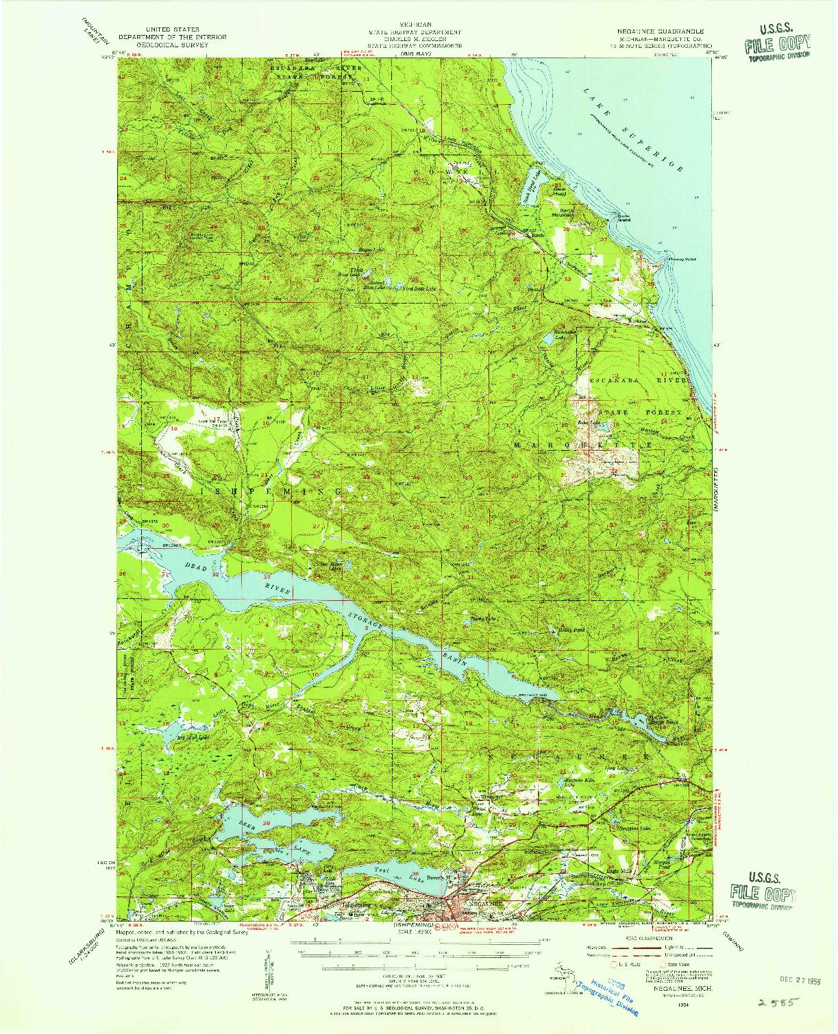 USGS 1:62500-SCALE QUADRANGLE FOR NEGAUNEE, MI 1954