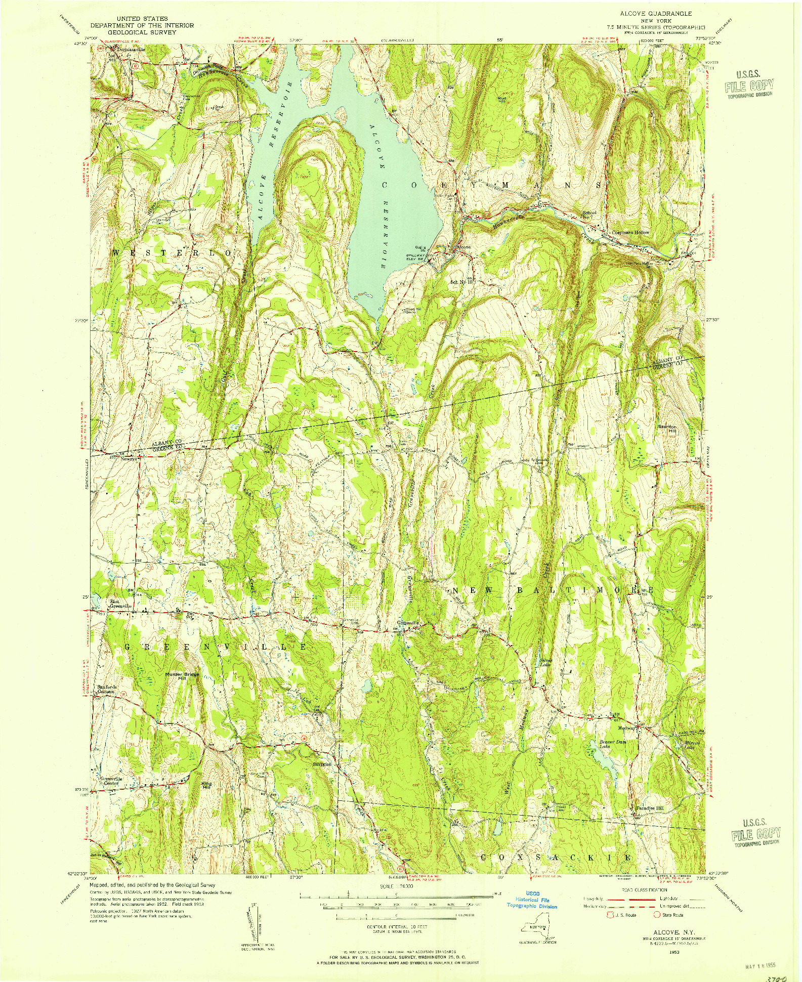 USGS 1:24000-SCALE QUADRANGLE FOR ALCOVE, NY 1953