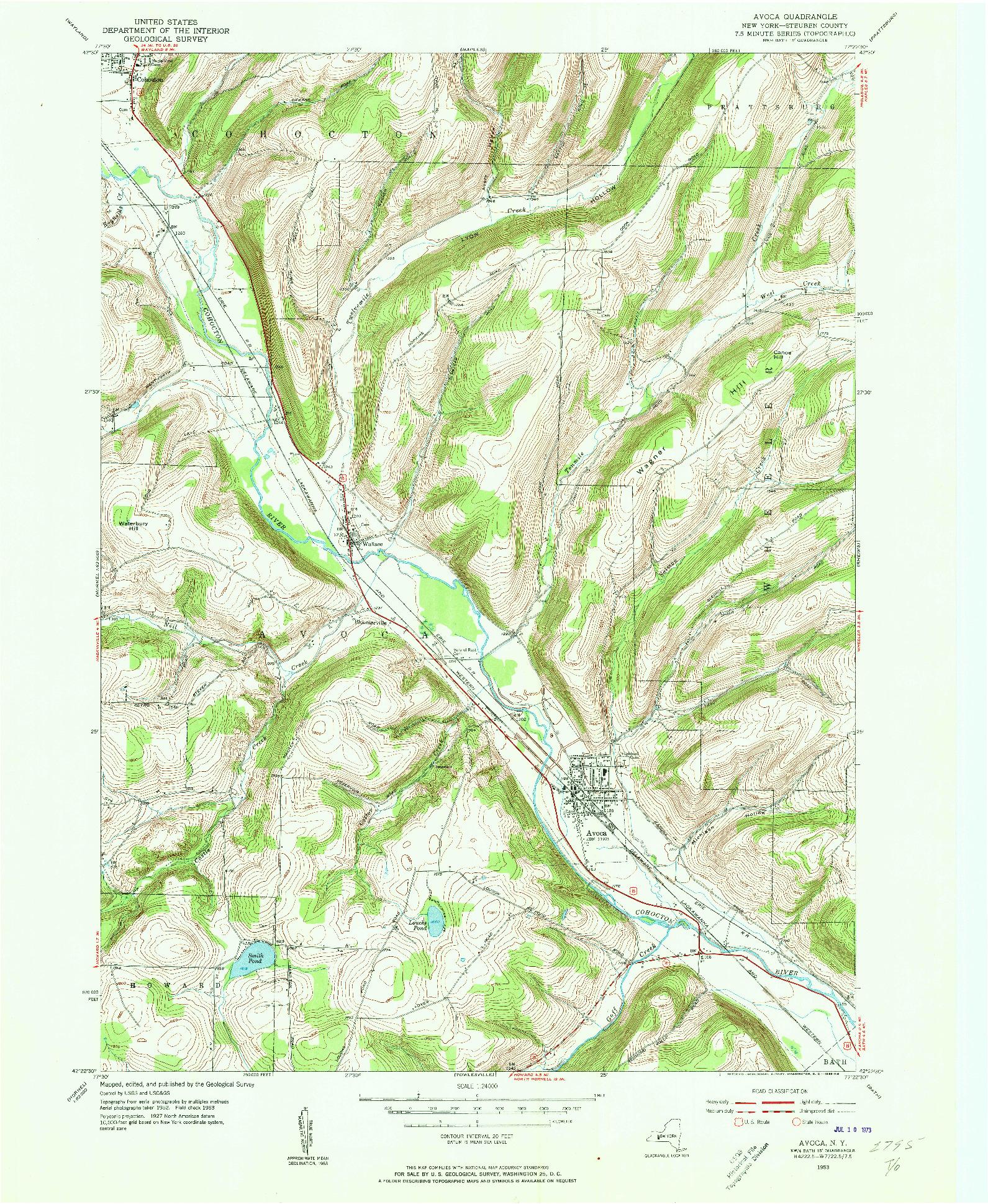USGS 1:24000-SCALE QUADRANGLE FOR AVOCA, NY 1953