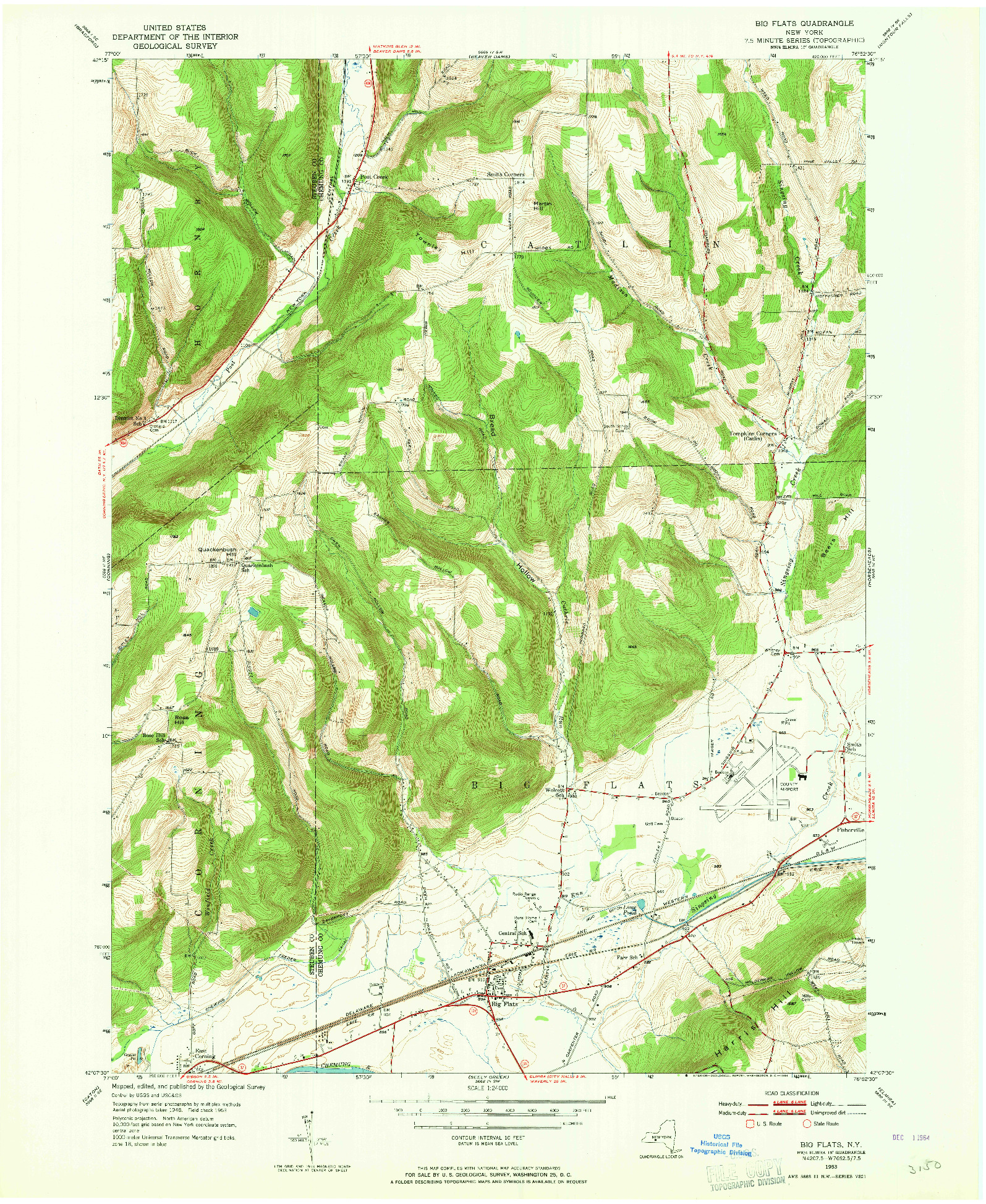 USGS 1:24000-SCALE QUADRANGLE FOR BIG FLATS, NY 1953