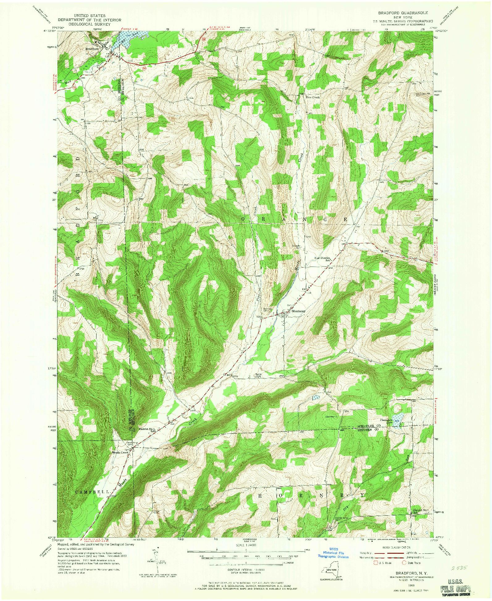 USGS 1:24000-SCALE QUADRANGLE FOR BRADFORD, NY 1953