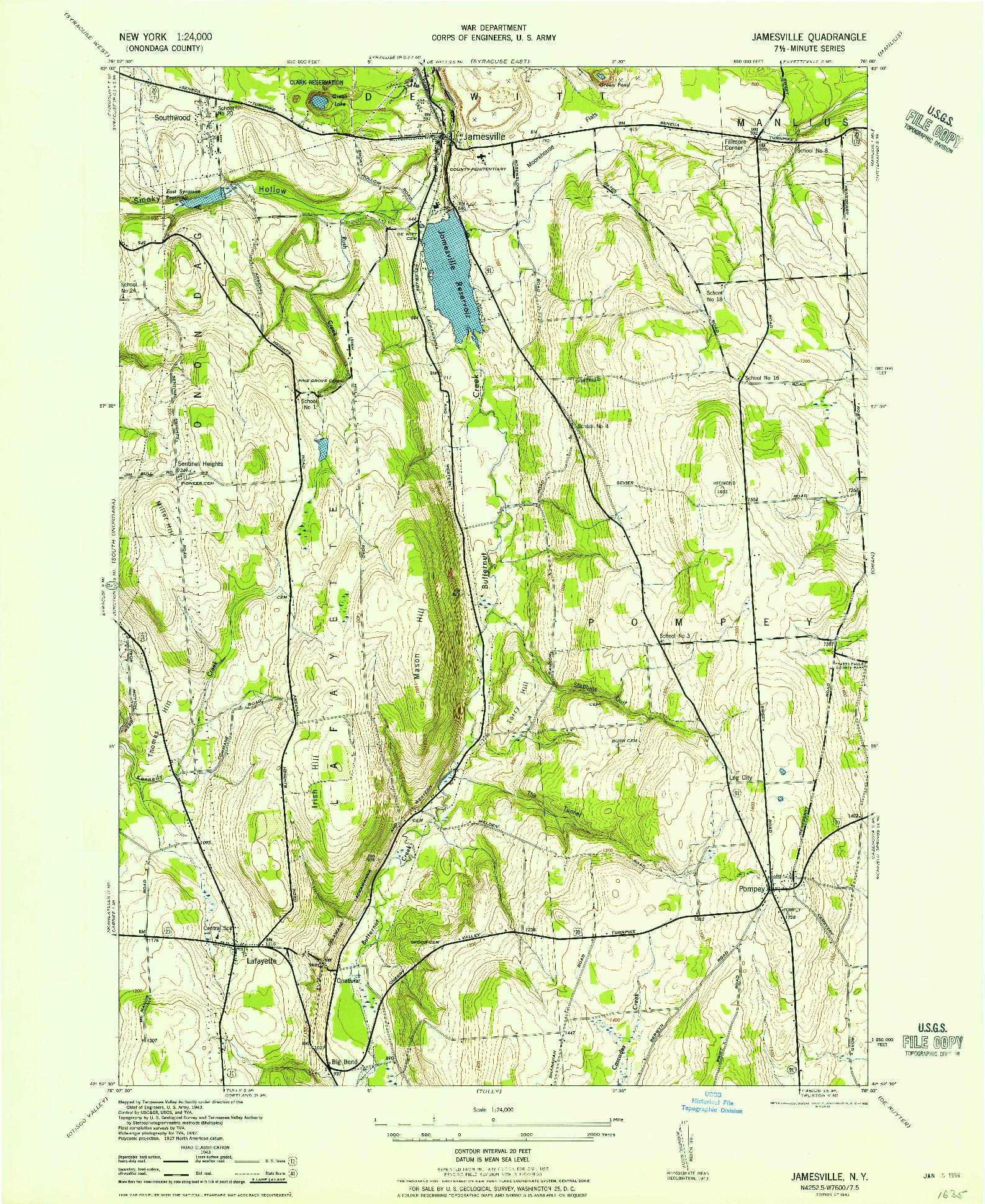 USGS 1:24000-SCALE QUADRANGLE FOR JAMESVILLE, NY 1943