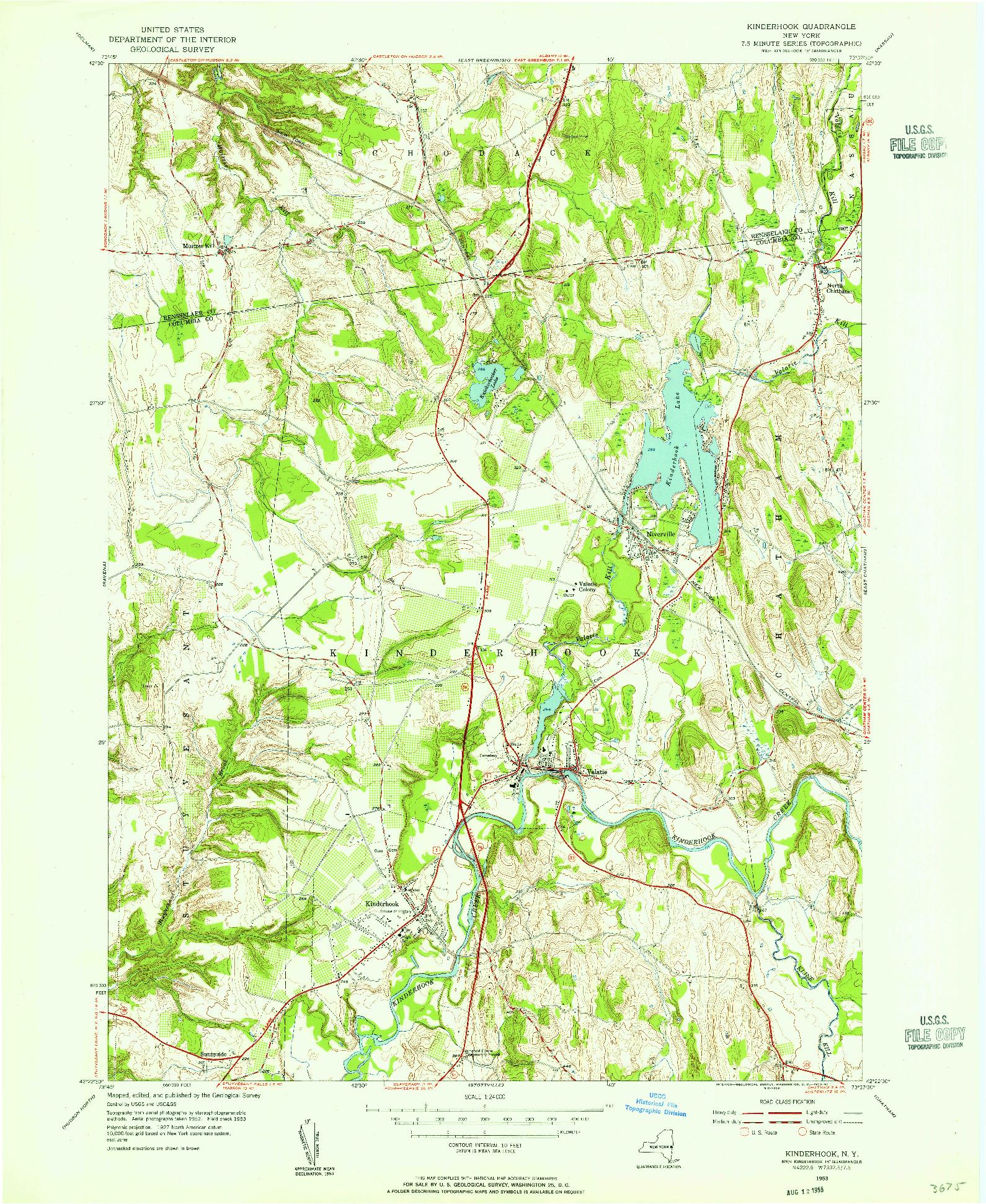USGS 1:24000-SCALE QUADRANGLE FOR KINDERHOOK, NY 1953