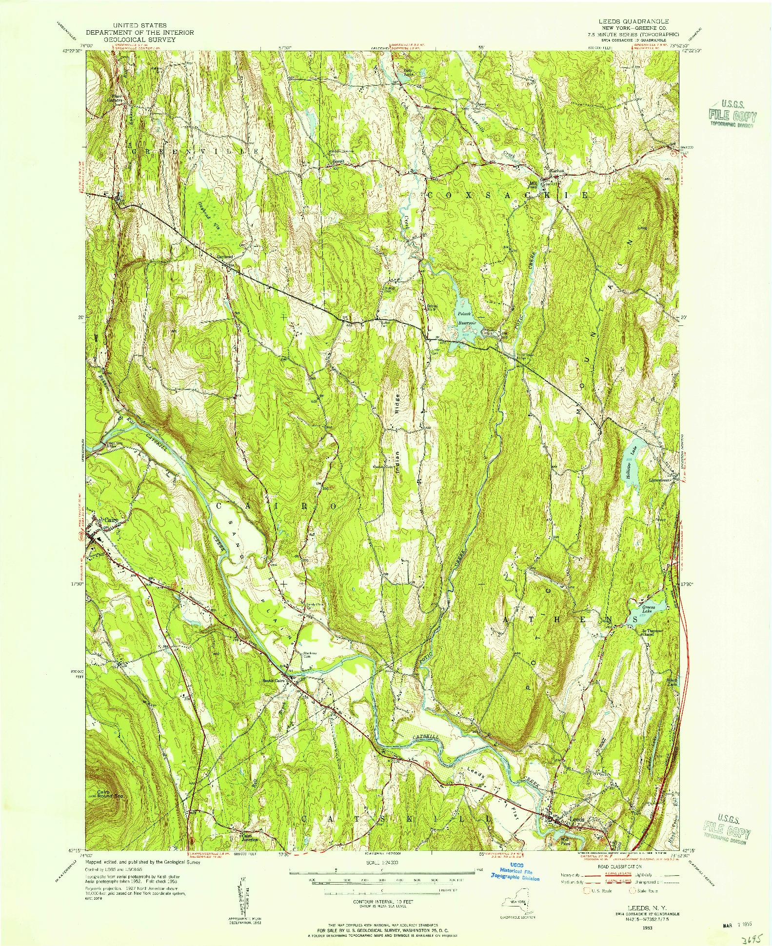 USGS 1:24000-SCALE QUADRANGLE FOR LEEDS, NY 1953