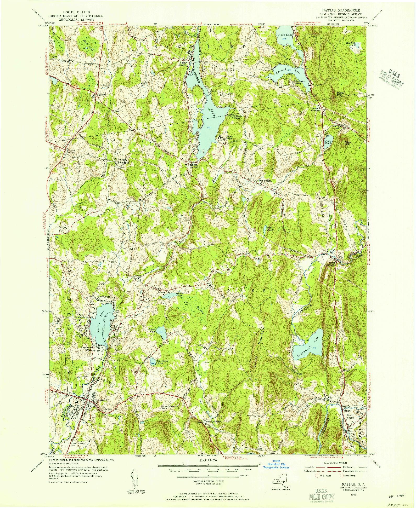 USGS 1:24000-SCALE QUADRANGLE FOR NASSAU, NY 1953