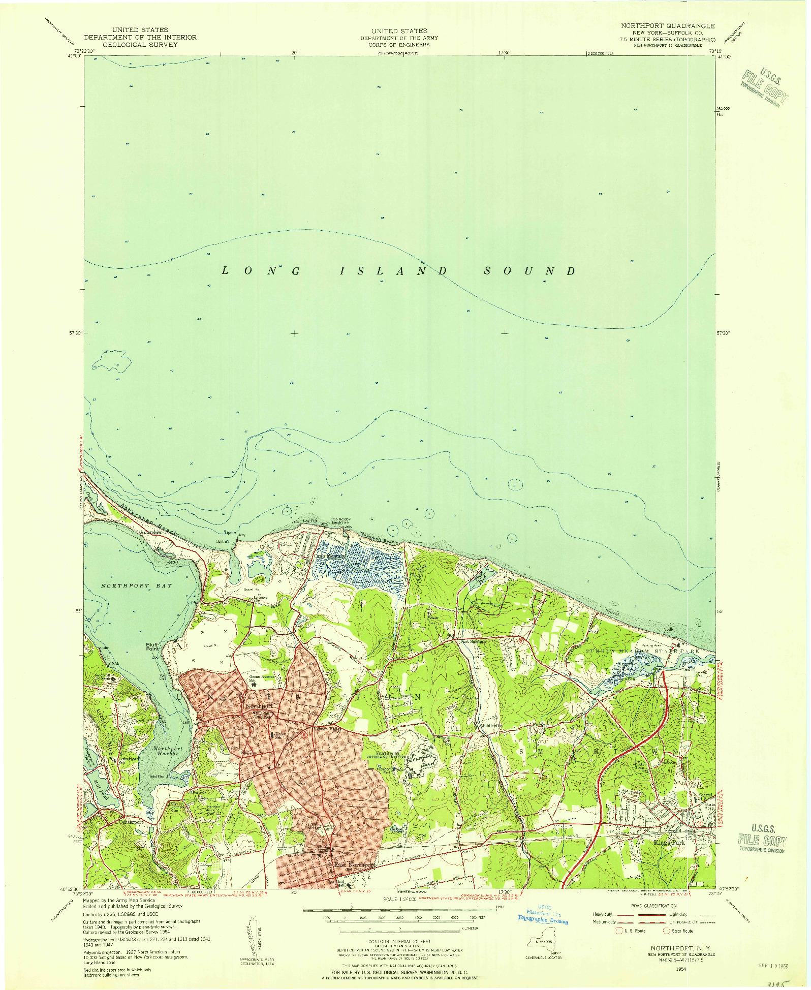 USGS 1:24000-SCALE QUADRANGLE FOR NORTHPORT, NY 1954