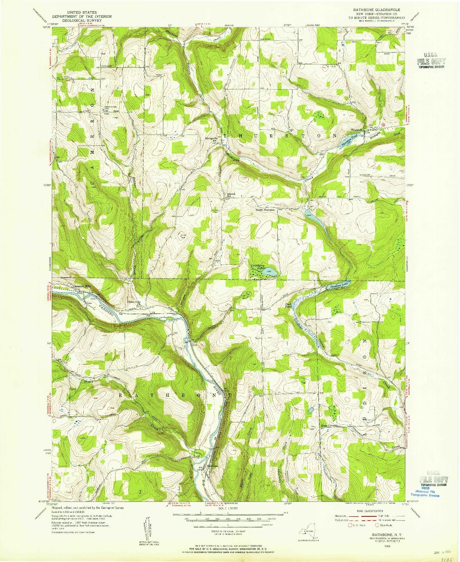 USGS 1:24000-SCALE QUADRANGLE FOR RATHBONE, NY 1953