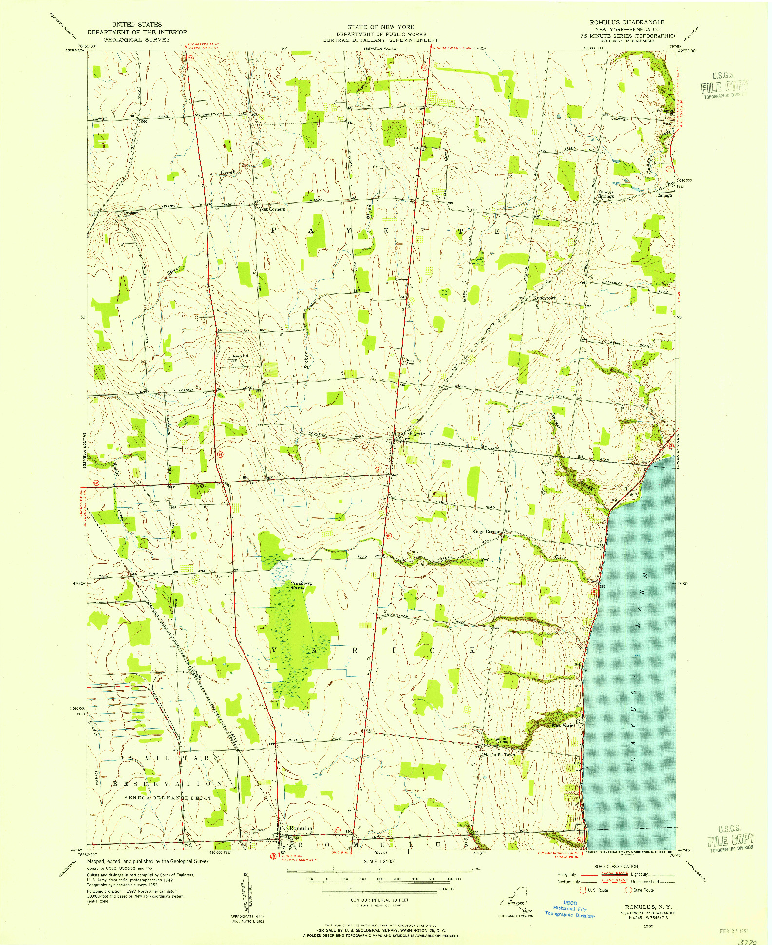 USGS 1:24000-SCALE QUADRANGLE FOR ROMULUS, NY 1953