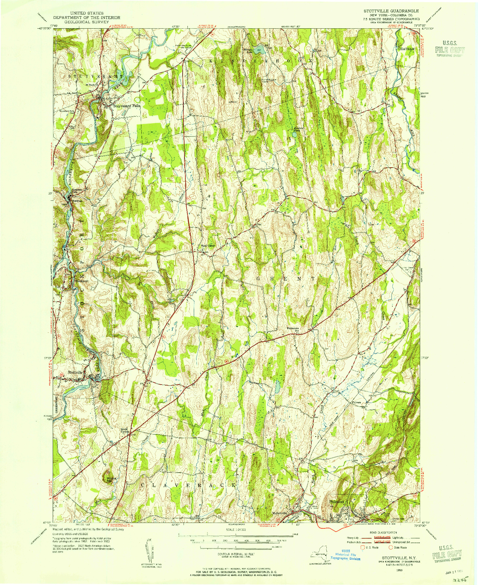 USGS 1:24000-SCALE QUADRANGLE FOR STOTTVILLE, NY 1953