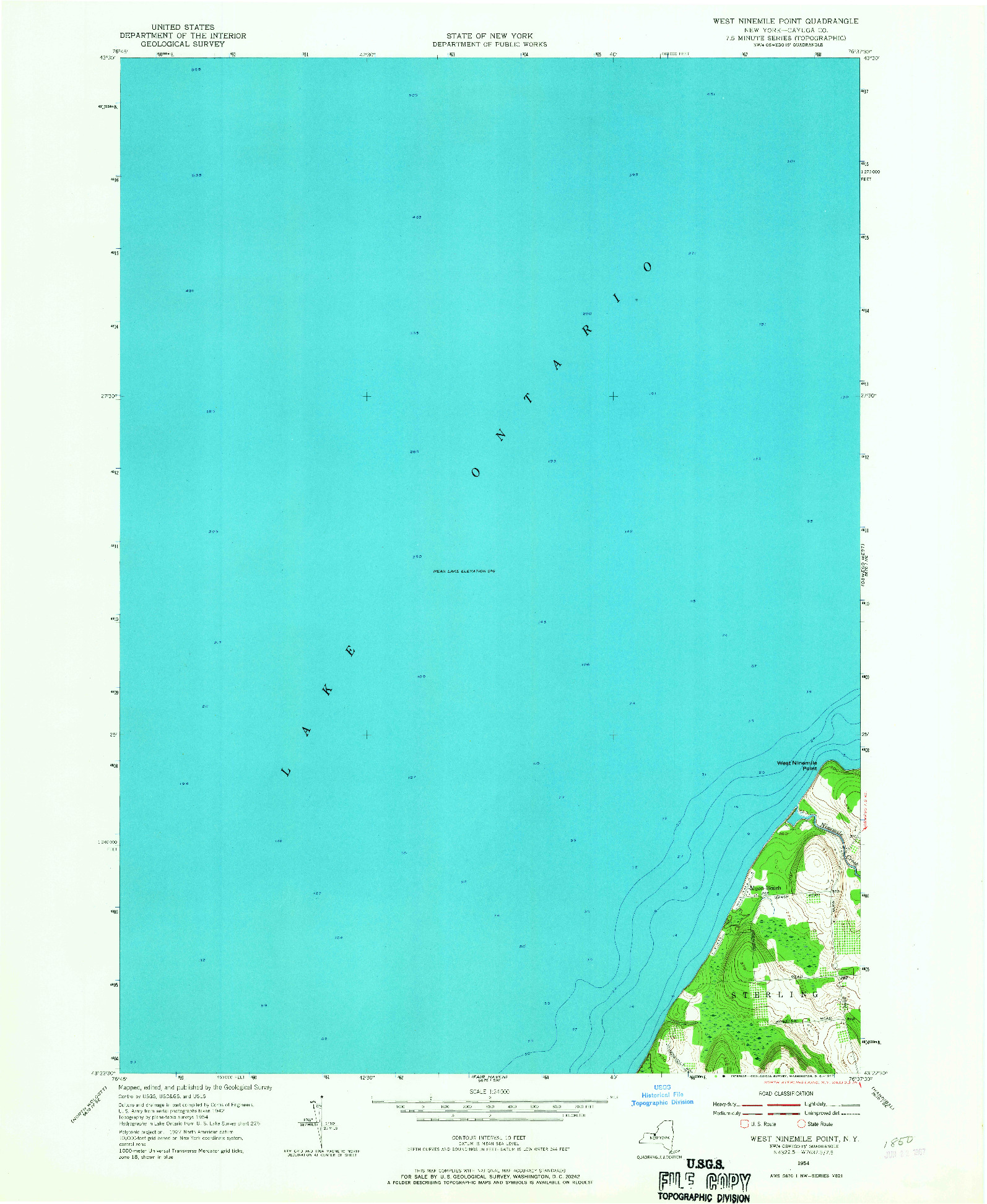 USGS 1:24000-SCALE QUADRANGLE FOR WEST NINEMILE POINT, NY 1954
