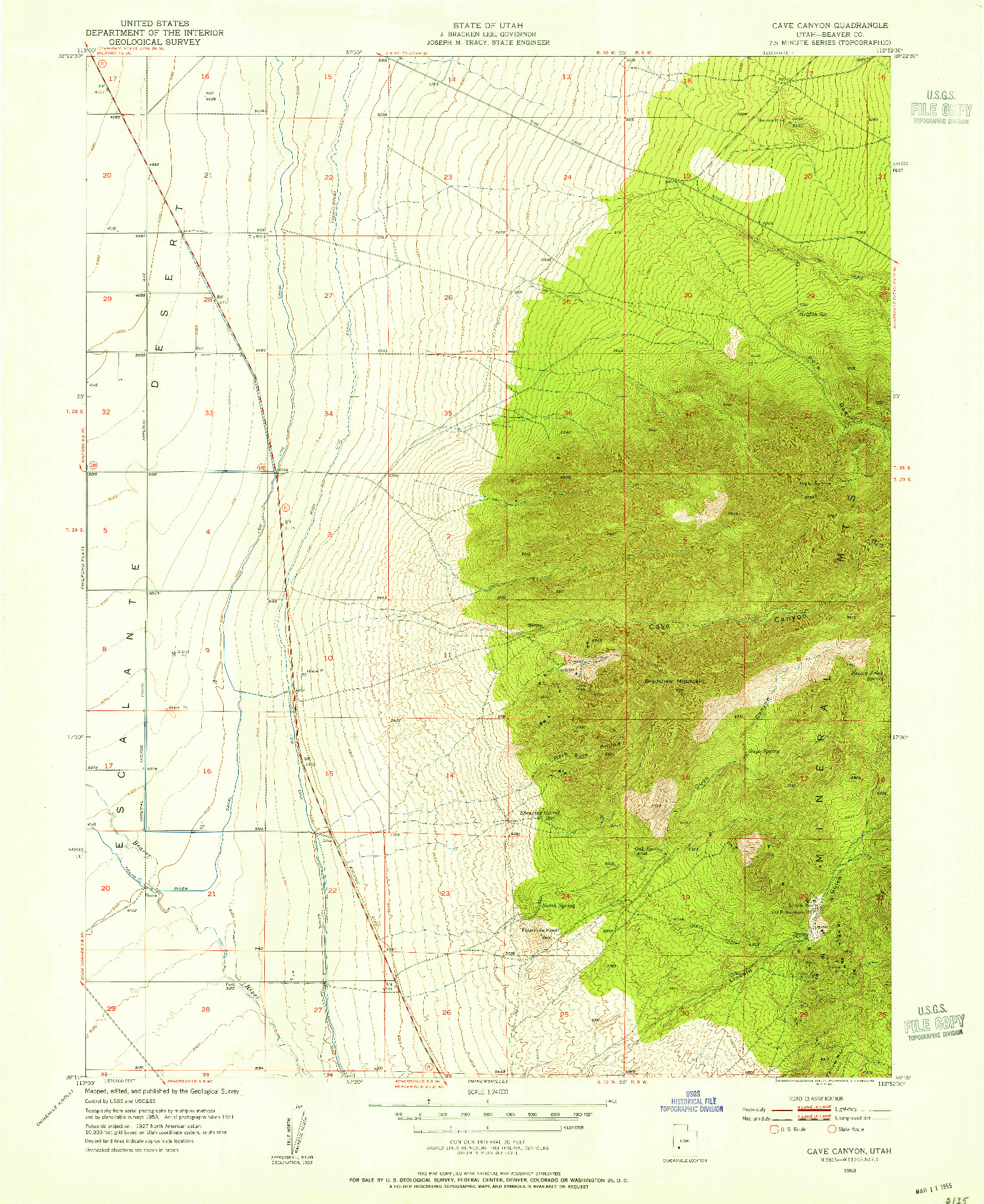 USGS 1:24000-SCALE QUADRANGLE FOR CAVE CANYON, UT 1953