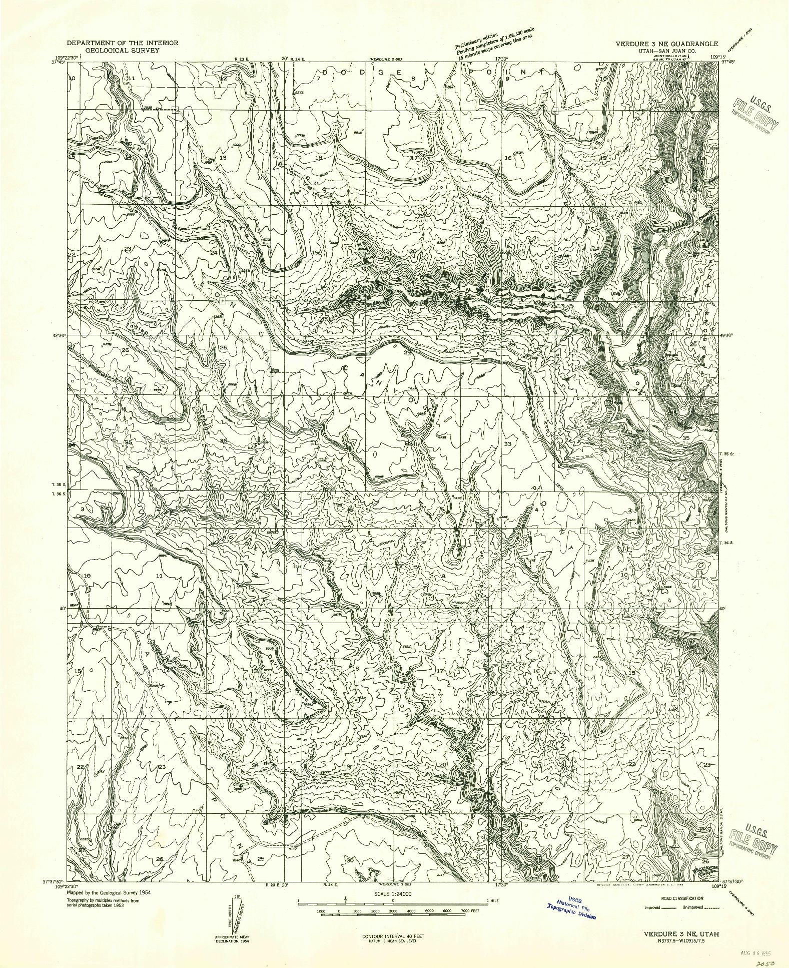 USGS 1:24000-SCALE QUADRANGLE FOR VERDURE 3 NE, UT 1955