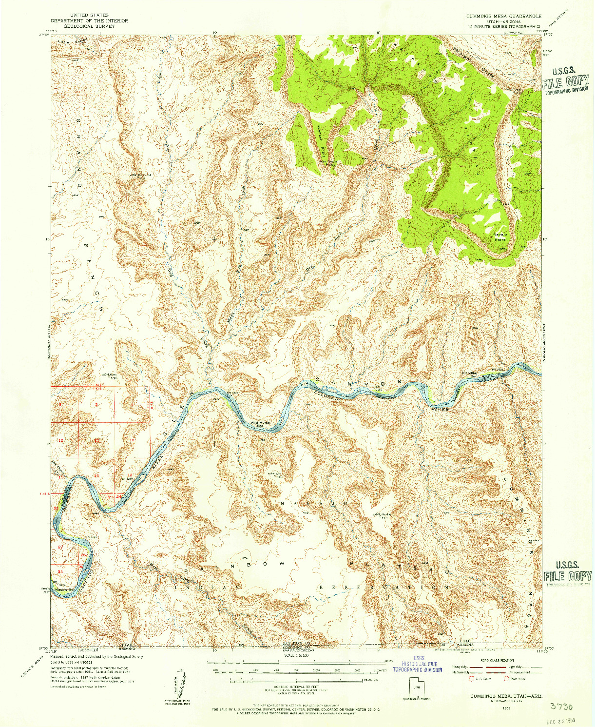 USGS 1:62500-SCALE QUADRANGLE FOR CUMMINGS MESA, UT 1953