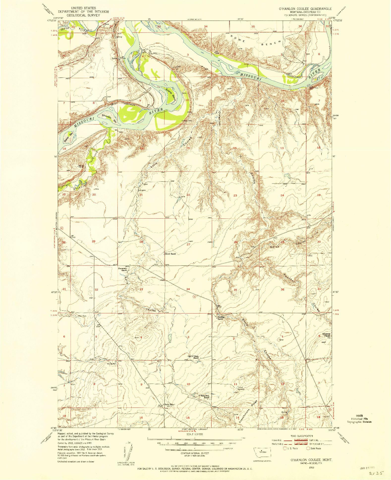 USGS 1:24000-SCALE QUADRANGLE FOR O'HANLON COULEE, MT 1953