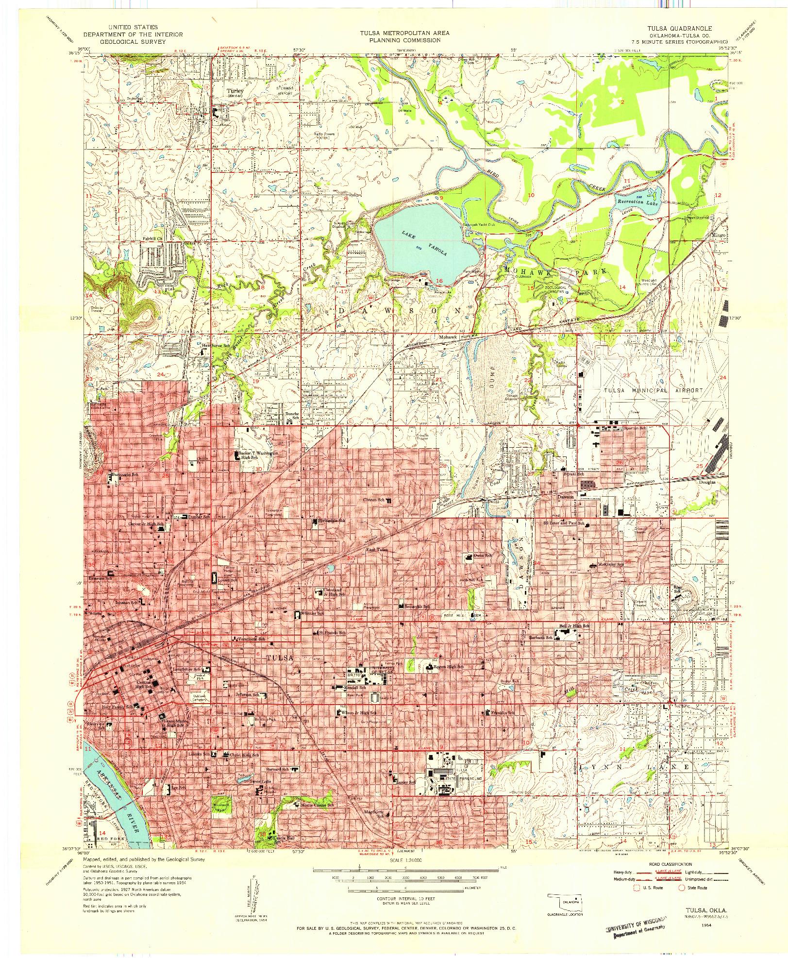 USGS 1:24000-SCALE QUADRANGLE FOR TULSA, OK 1954