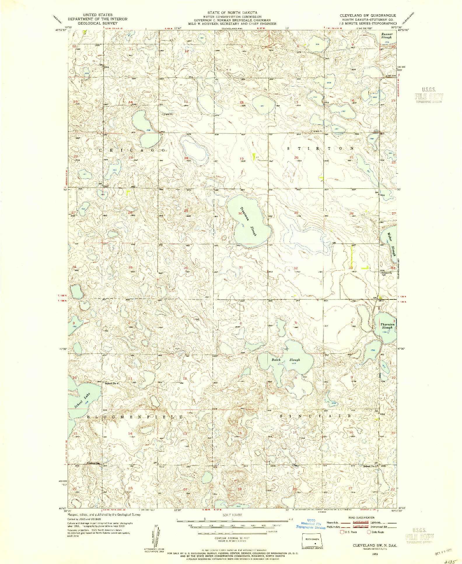 USGS 1:24000-SCALE QUADRANGLE FOR CLEVELAND SW, ND 1953