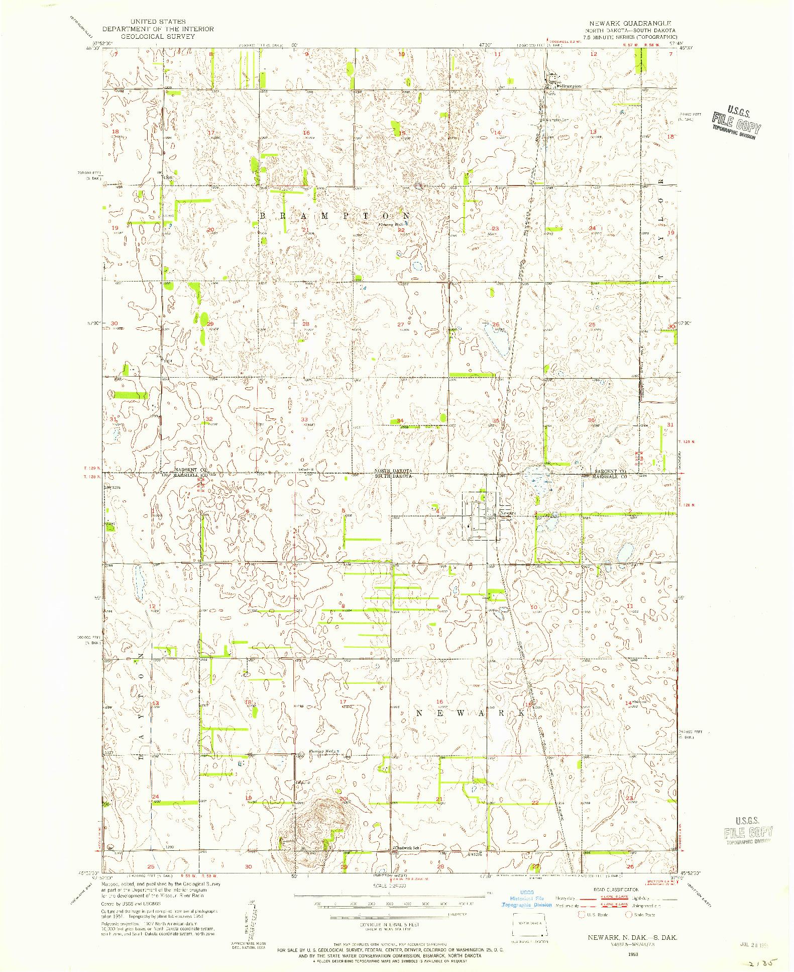 USGS 1:24000-SCALE QUADRANGLE FOR NEWARK, ND 1953