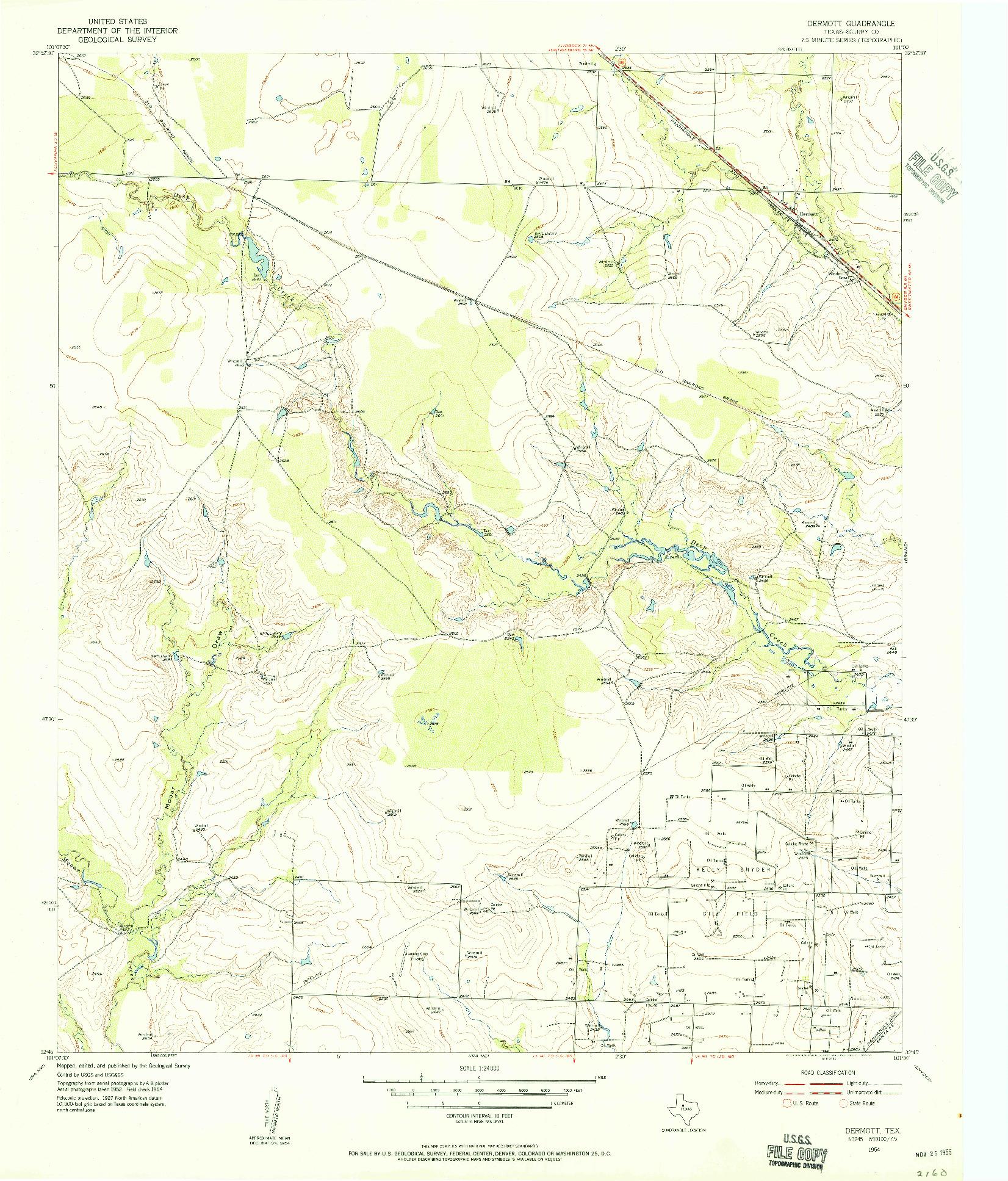 USGS 1:24000-SCALE QUADRANGLE FOR DERMOTT, TX 1954