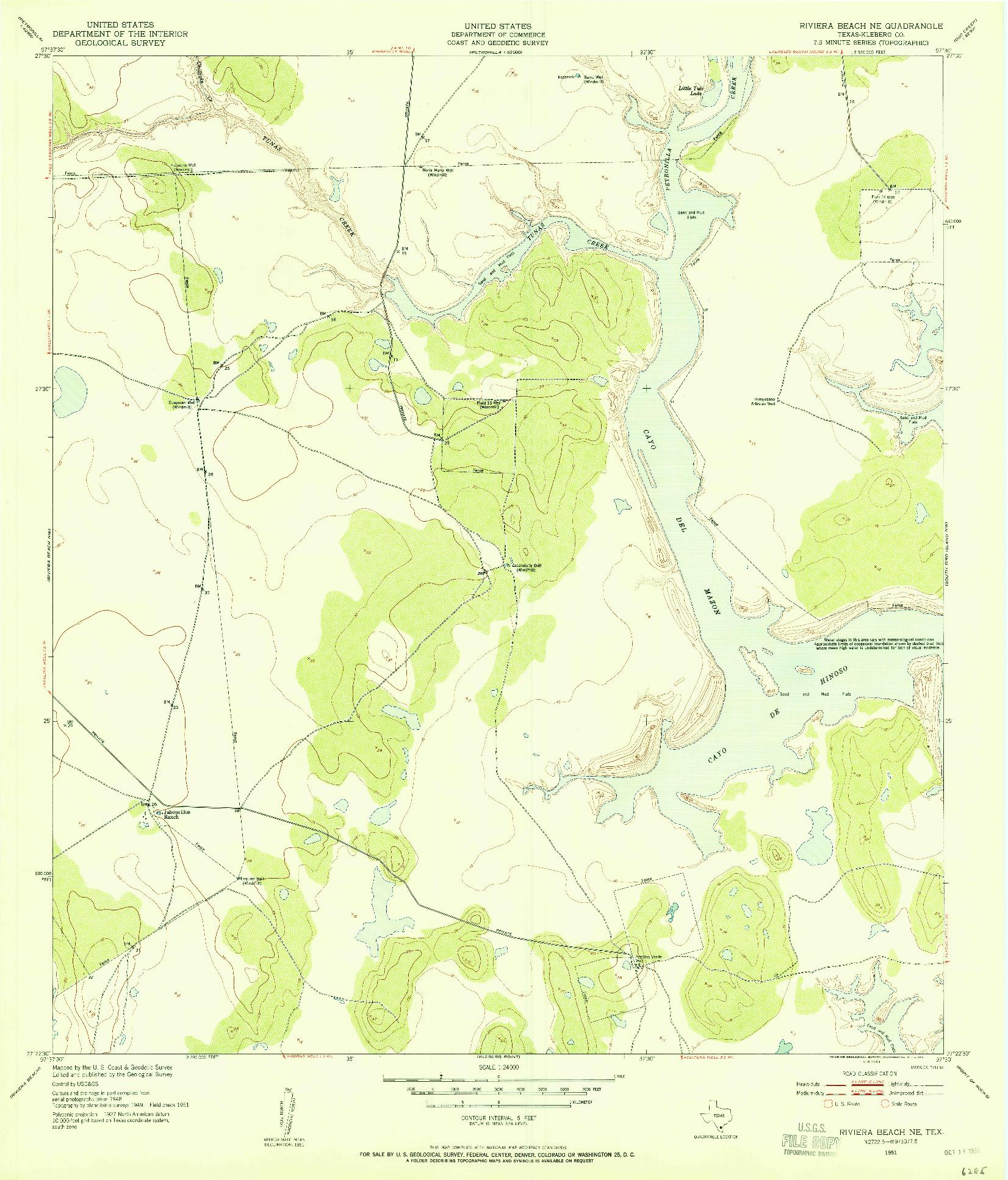 USGS 1:24000-SCALE QUADRANGLE FOR RIVIERA BEACH NE, TX 1951