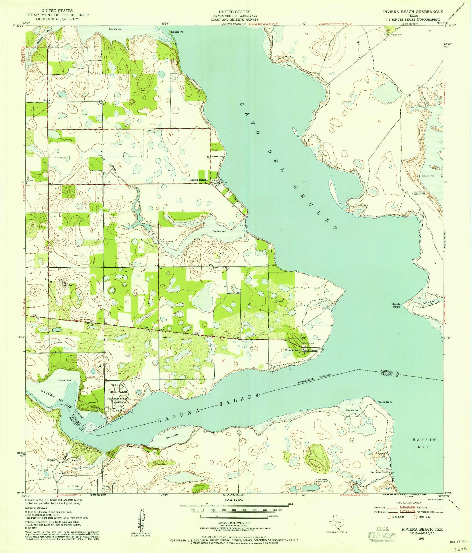USGS 1:24000-SCALE QUADRANGLE FOR RIVIERA BEACH, TX 1952