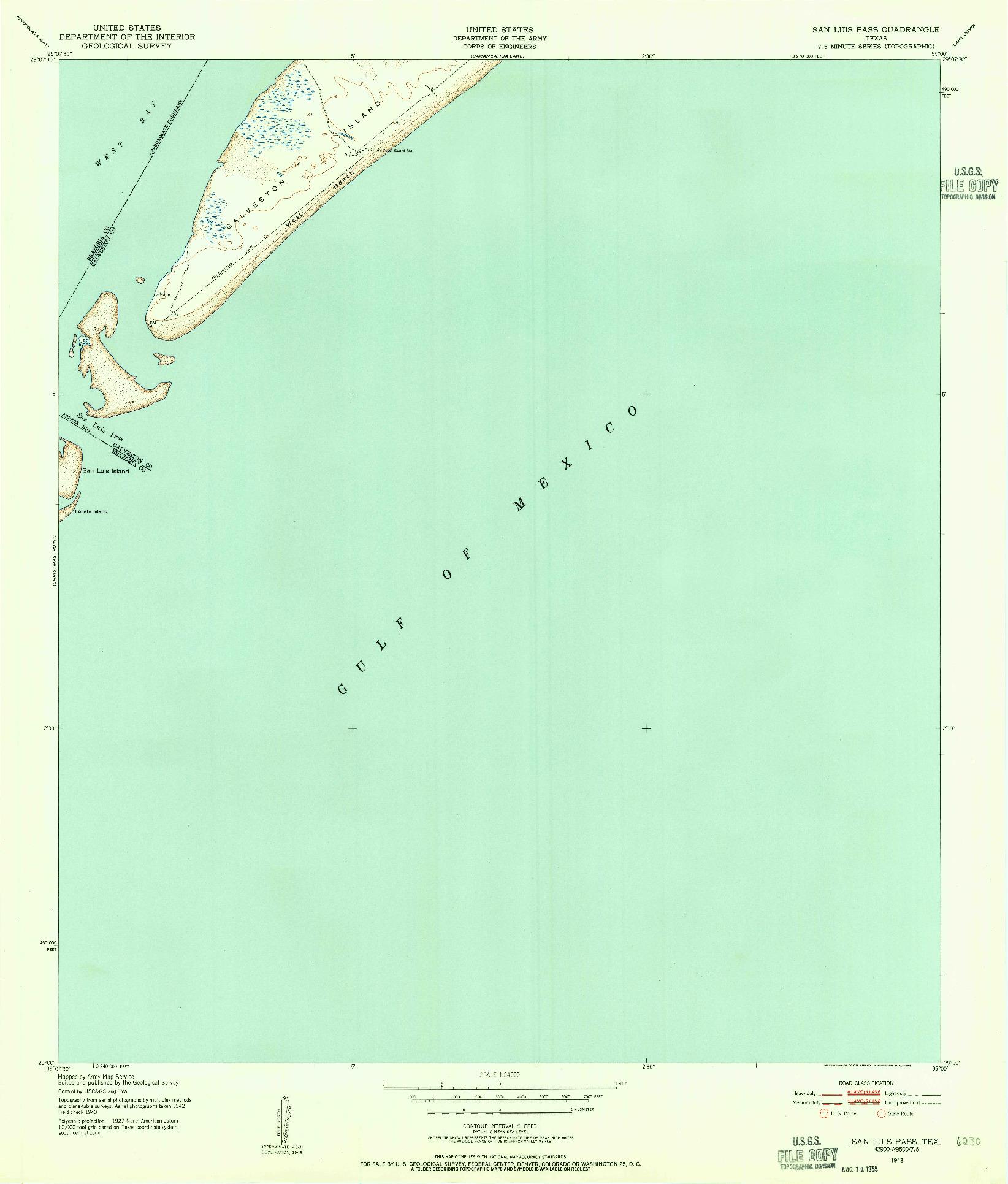 USGS 1:24000-SCALE QUADRANGLE FOR SAN LUIS PASS, TX 1943