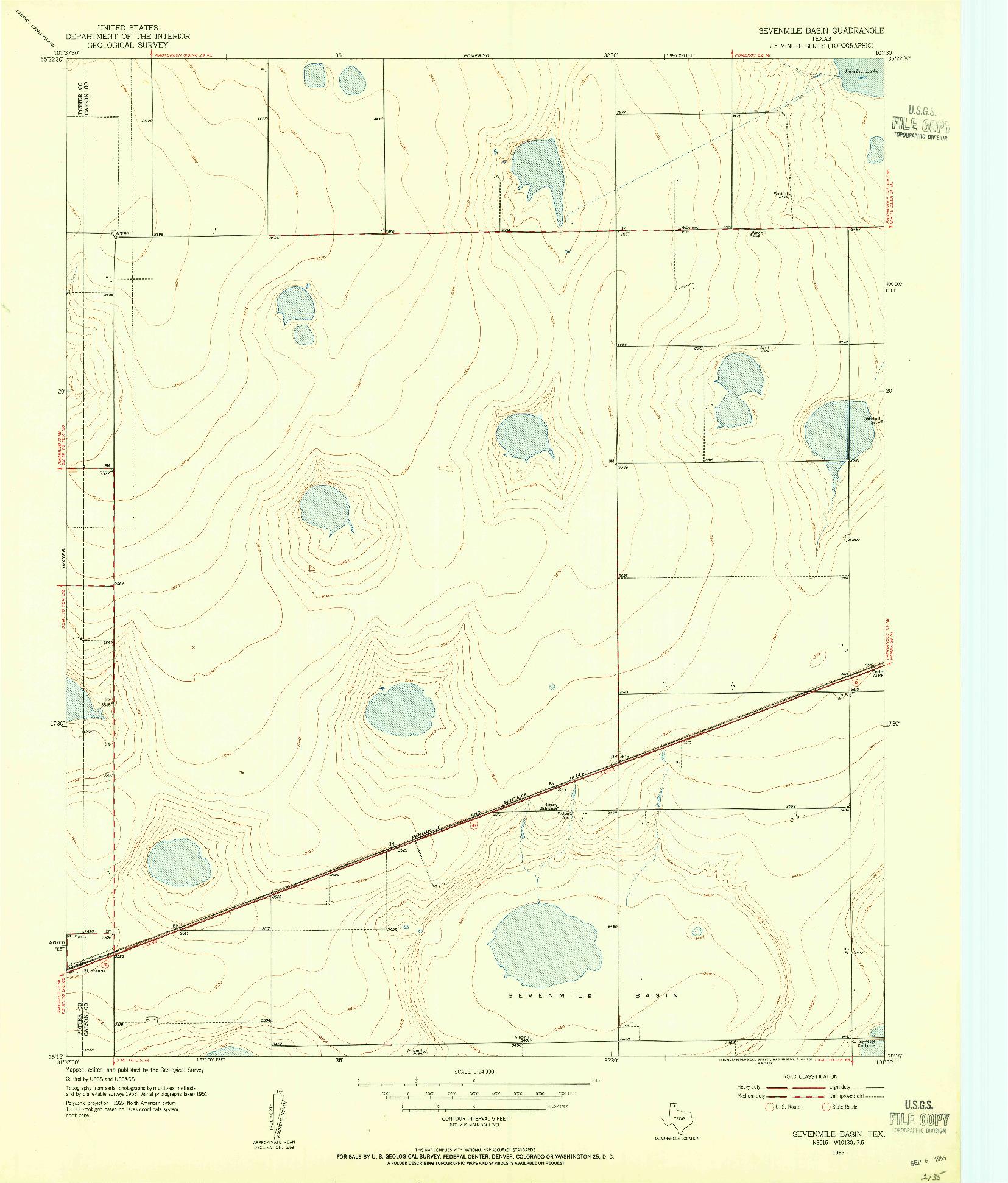 USGS 1:24000-SCALE QUADRANGLE FOR SEVENMILE BASIN, TX 1953