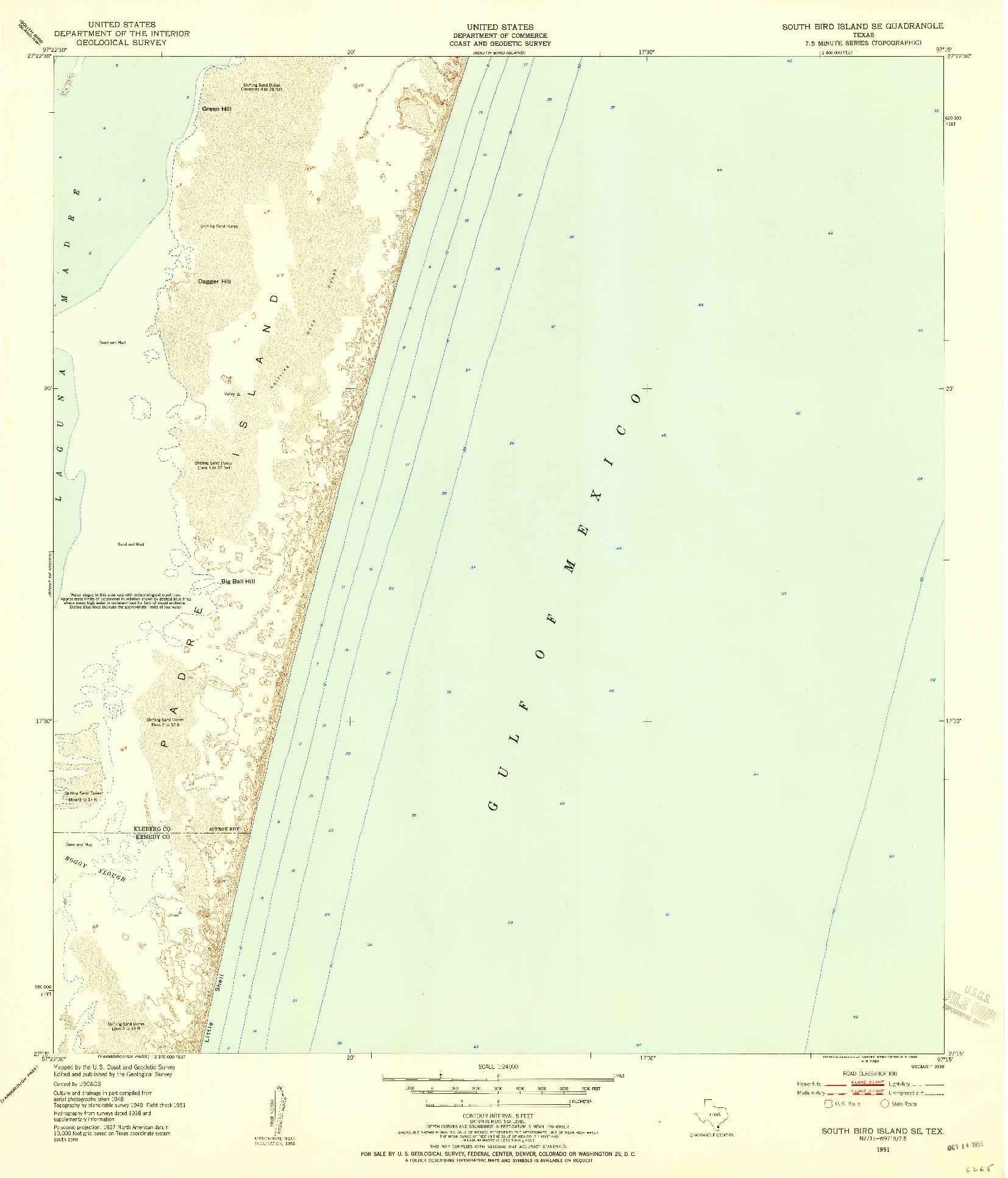 USGS 1:24000-SCALE QUADRANGLE FOR SOUTH BIRD ISLAND SE, TX 1951