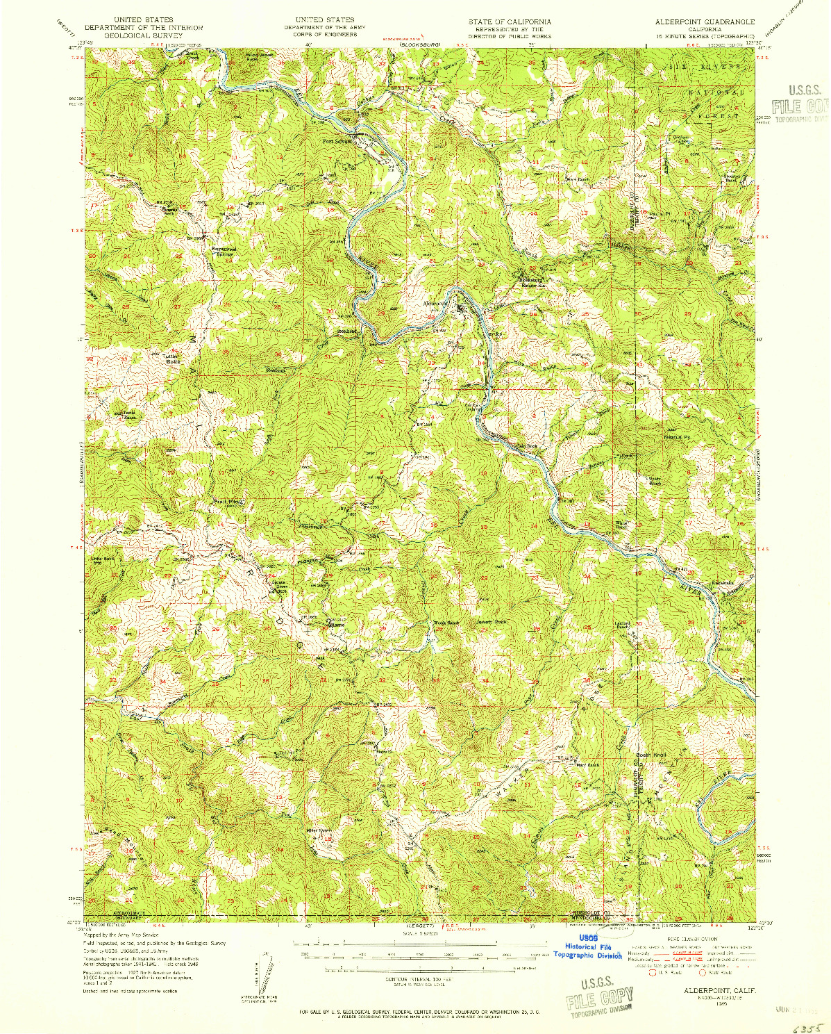 USGS 1:62500-SCALE QUADRANGLE FOR ALDERPOINT, CA 1949