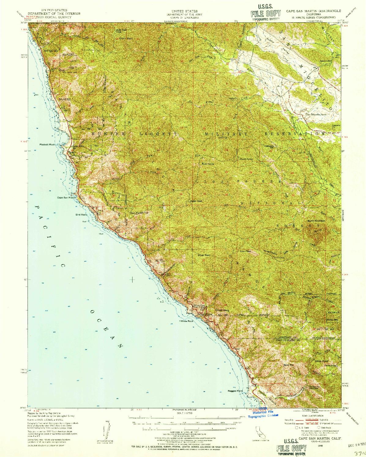 USGS 1:62500-SCALE QUADRANGLE FOR CAPE SAN MARTIN, CA 1948