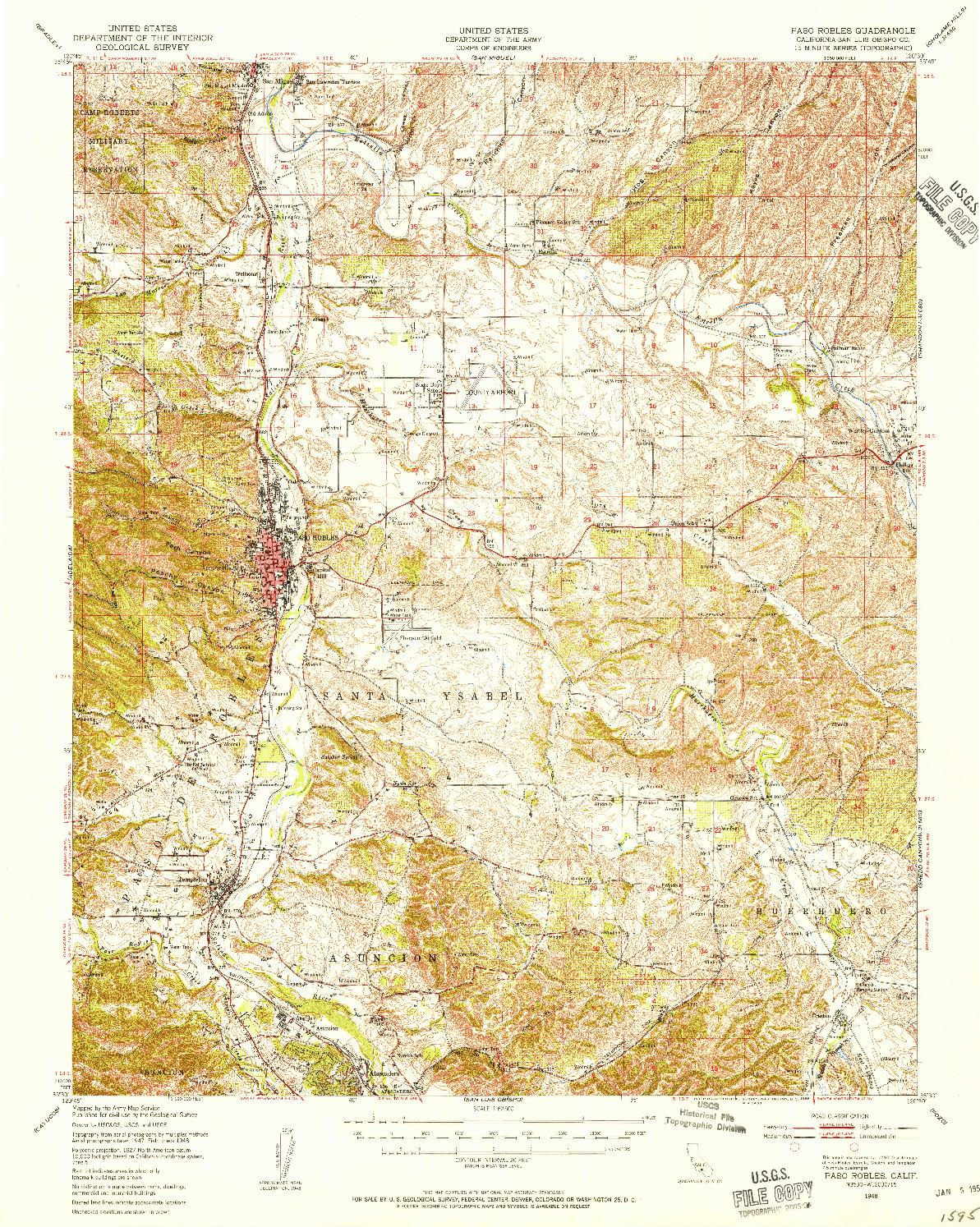 USGS 1:62500-SCALE QUADRANGLE FOR PASO ROBLES, CA 1948