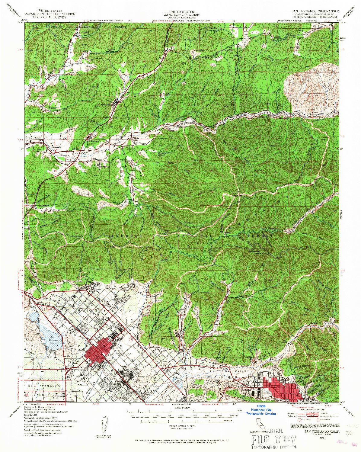 USGS 1:62500-SCALE QUADRANGLE FOR SAN FERNANDO, CA 1940