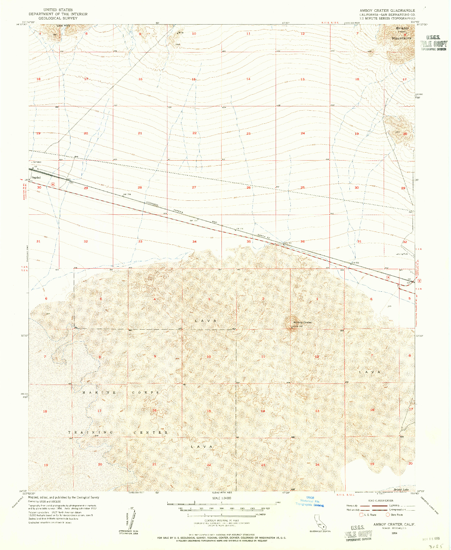 USGS 1:24000-SCALE QUADRANGLE FOR AMBOY CRATER, CA 1954