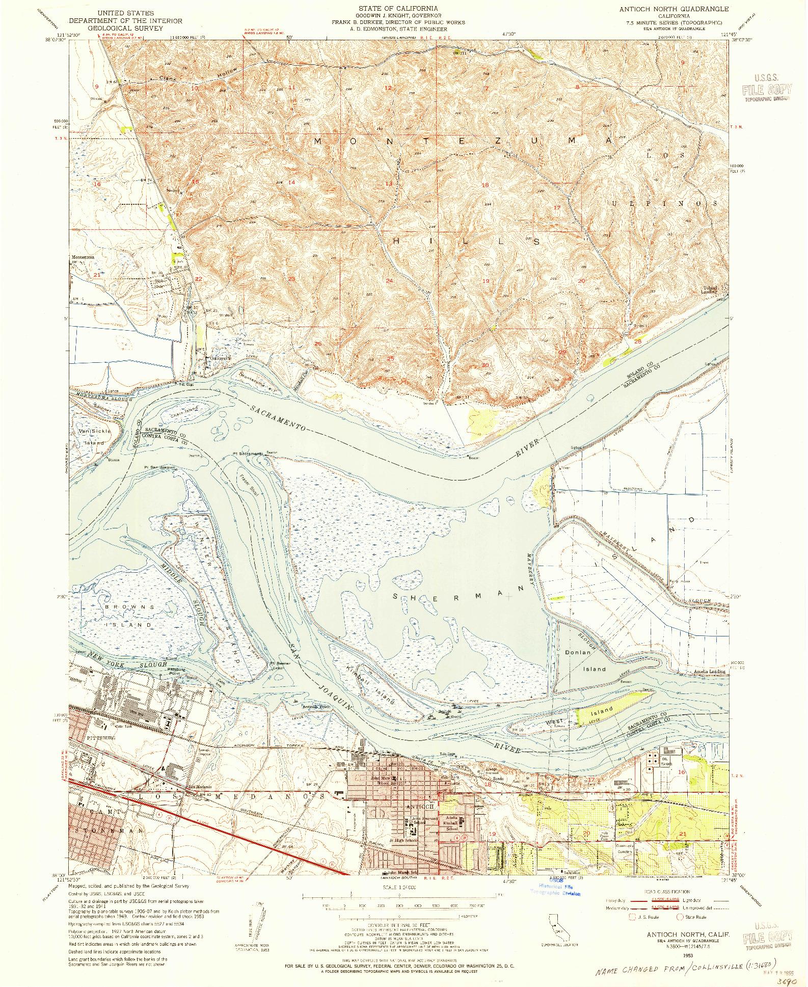 USGS 1:24000-SCALE QUADRANGLE FOR ANTIOCH NORTH, CA 1953