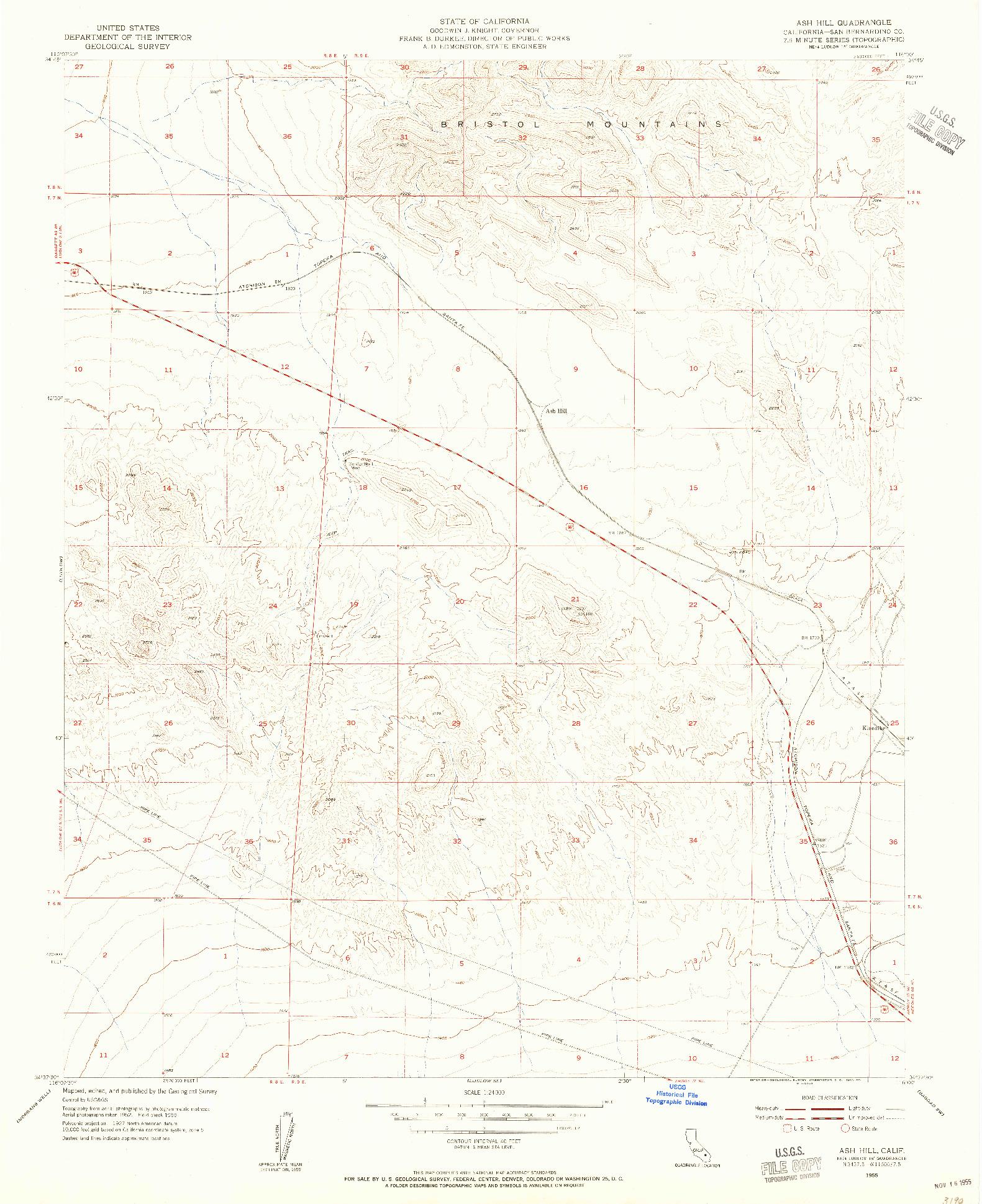 USGS 1:24000-SCALE QUADRANGLE FOR ASH HILL, CA 1955
