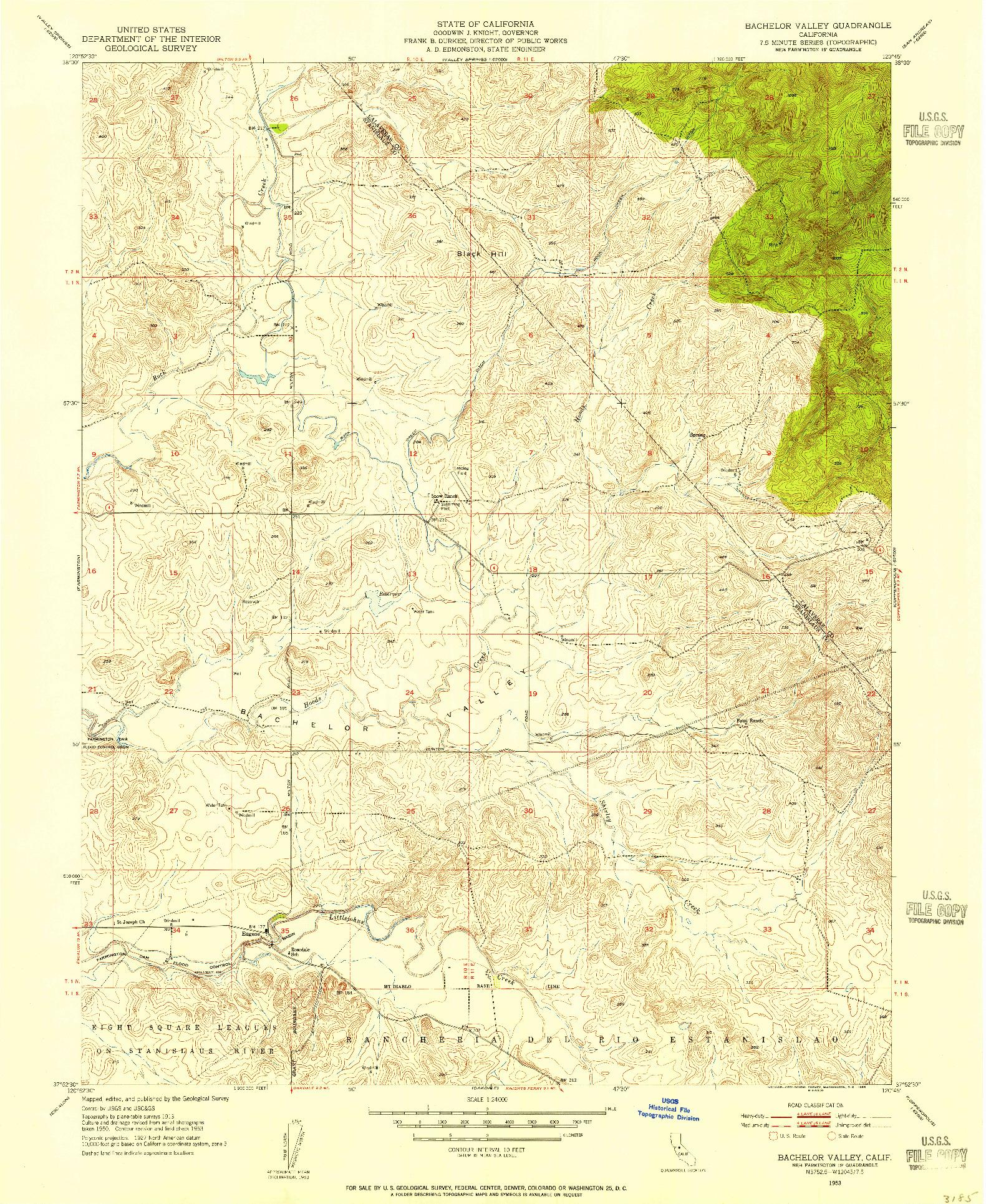 USGS 1:24000-SCALE QUADRANGLE FOR BACHELOR VALLEY, CA 1953