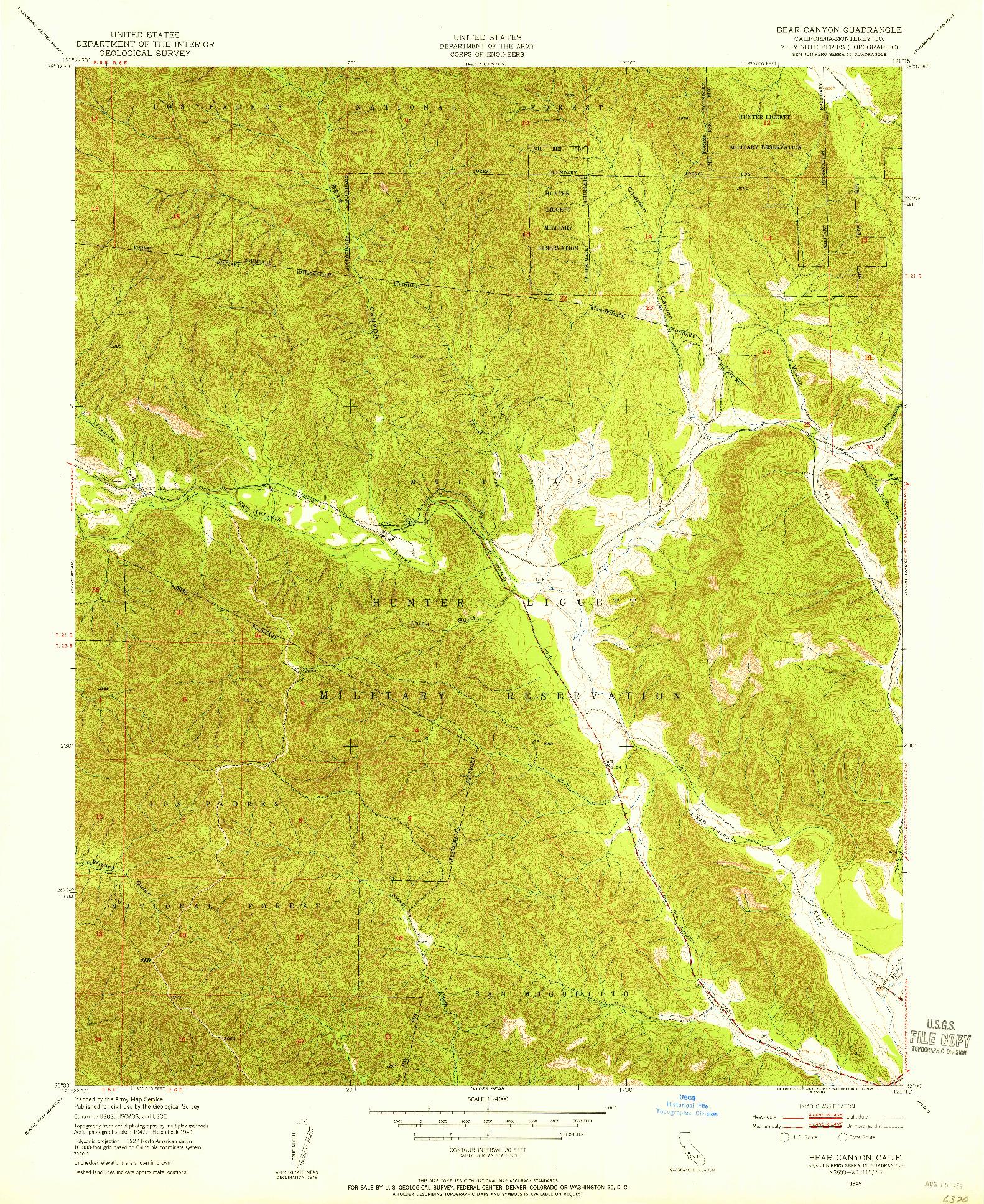 USGS 1:24000-SCALE QUADRANGLE FOR BEAR CANYON, CA 1949
